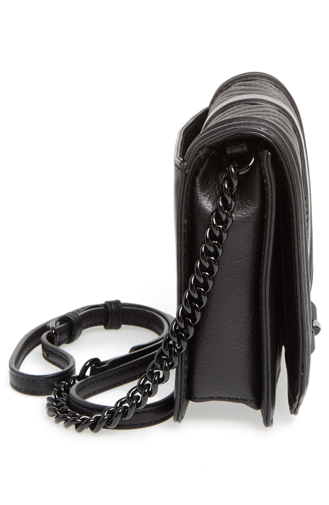REBECCA MINKOFF, Small Love Leather Crossbody Bag, Alternate thumbnail 7, color, BLACK/ BLACK HRDWR