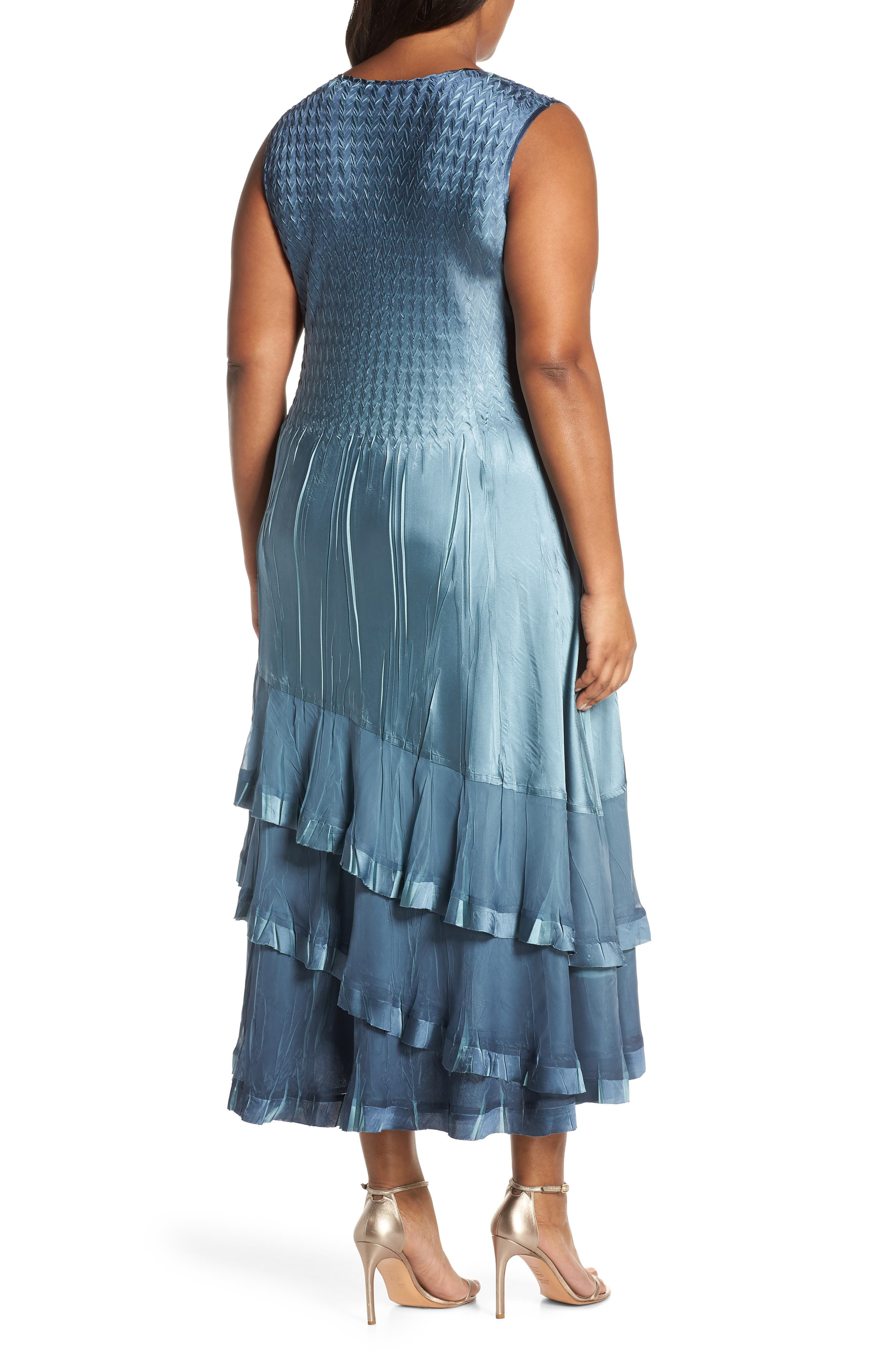 KOMAROV, Charmeuse Cocktail Dress with Jacket, Alternate thumbnail 5, color, SILVER BLUE OMBRE