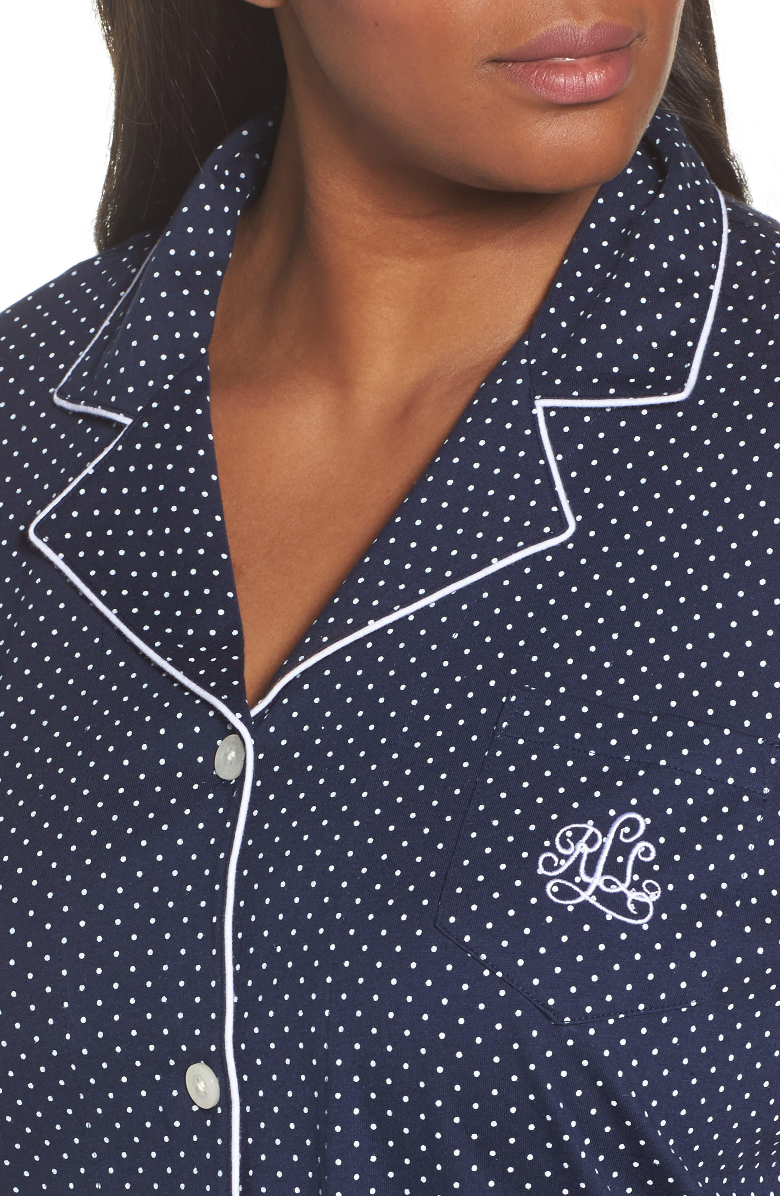 LAUREN RALPH LAUREN, Bermuda Pajamas, Alternate thumbnail 4, color, NAVY DOT