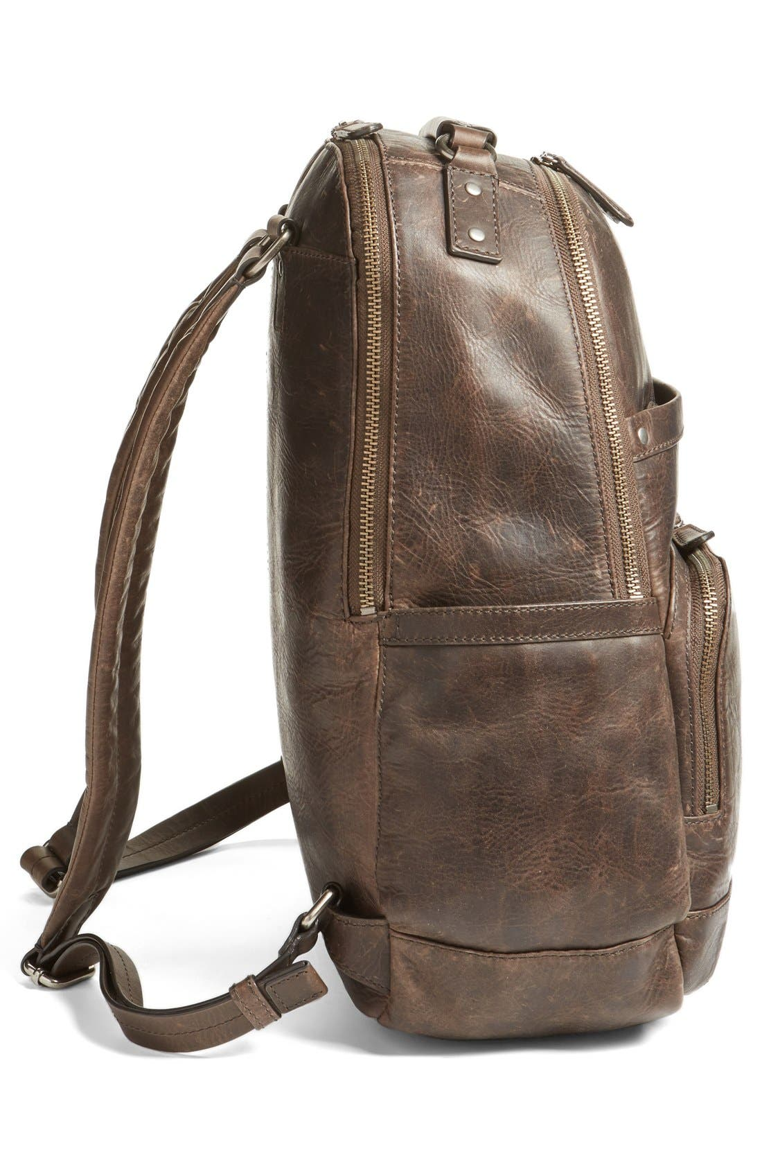 FRYE, 'Logan' Leather Backpack, Alternate thumbnail 5, color, SLATE