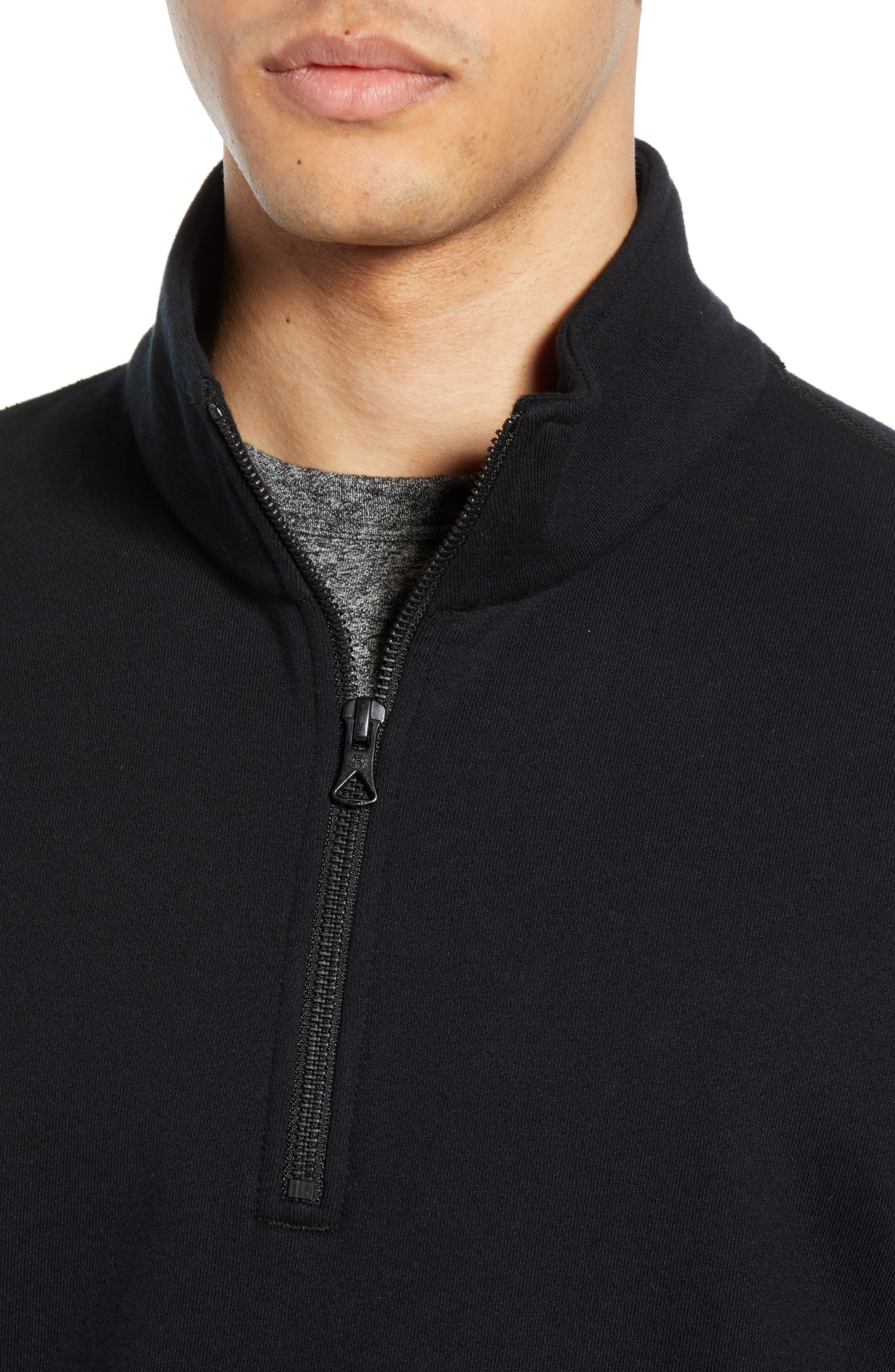 REIGNING CHAMP, Half Zip Pullover, Alternate thumbnail 4, color, 001