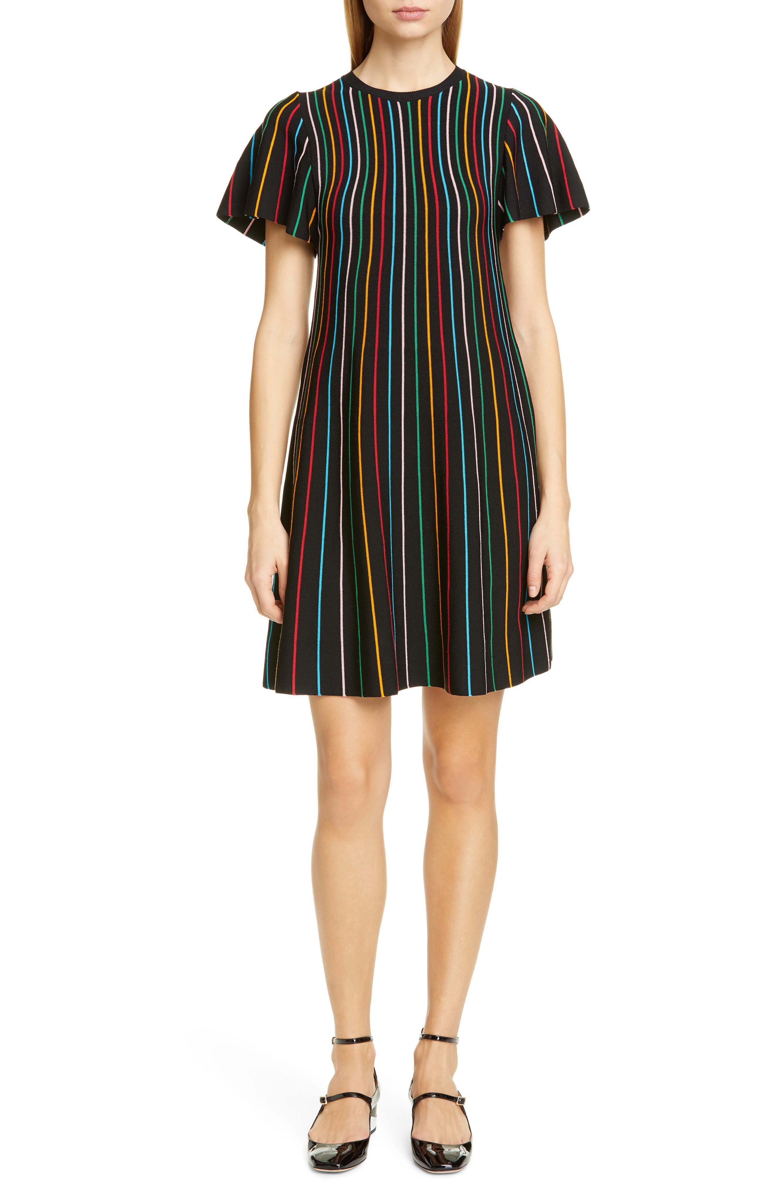 Red Valentino Rainbow Stripe Shift Dress, Black