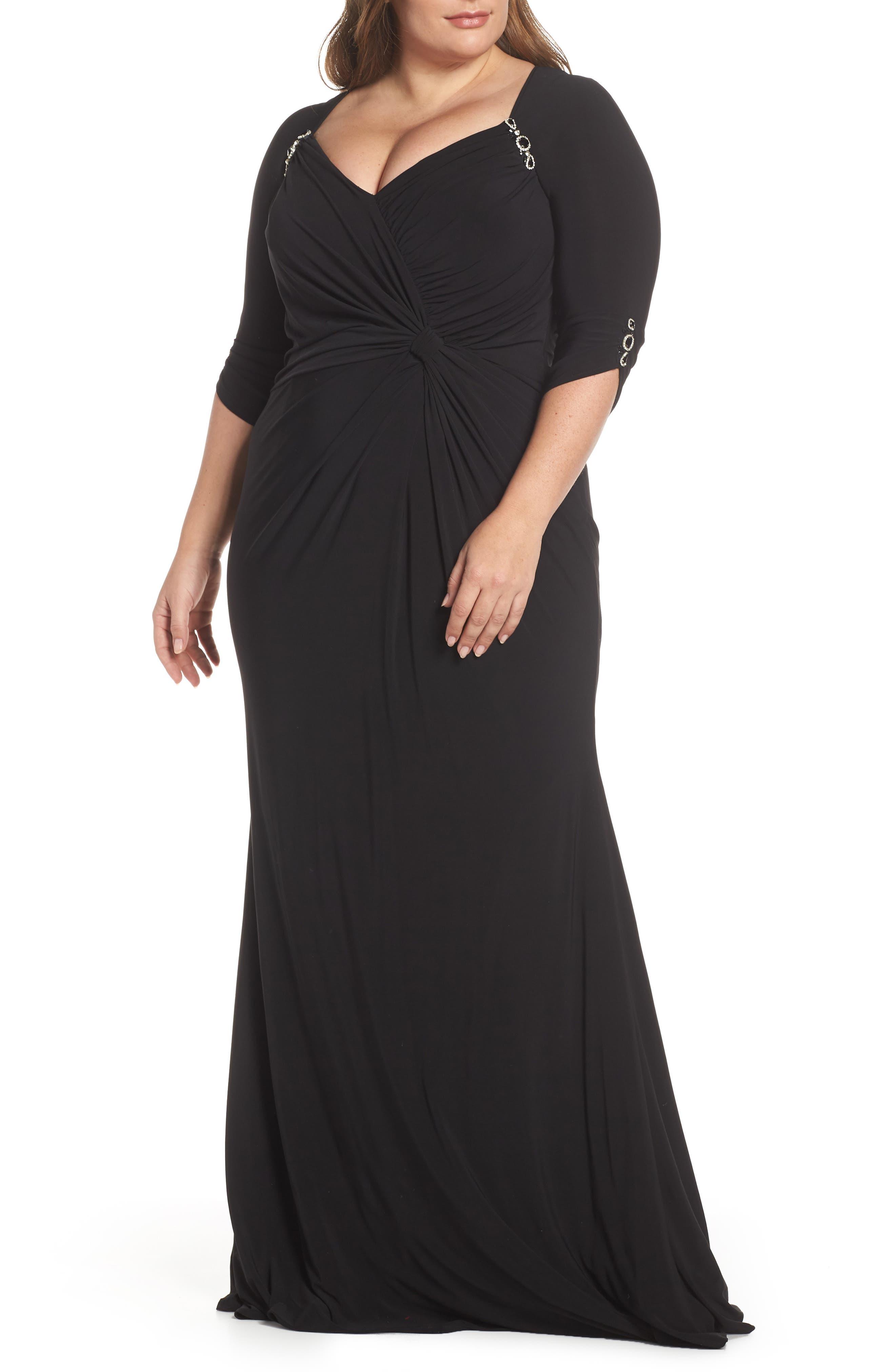 MAC DUGGAL, Crystal Embellished Twist Front Evening Dress, Main thumbnail 1, color, BLACK