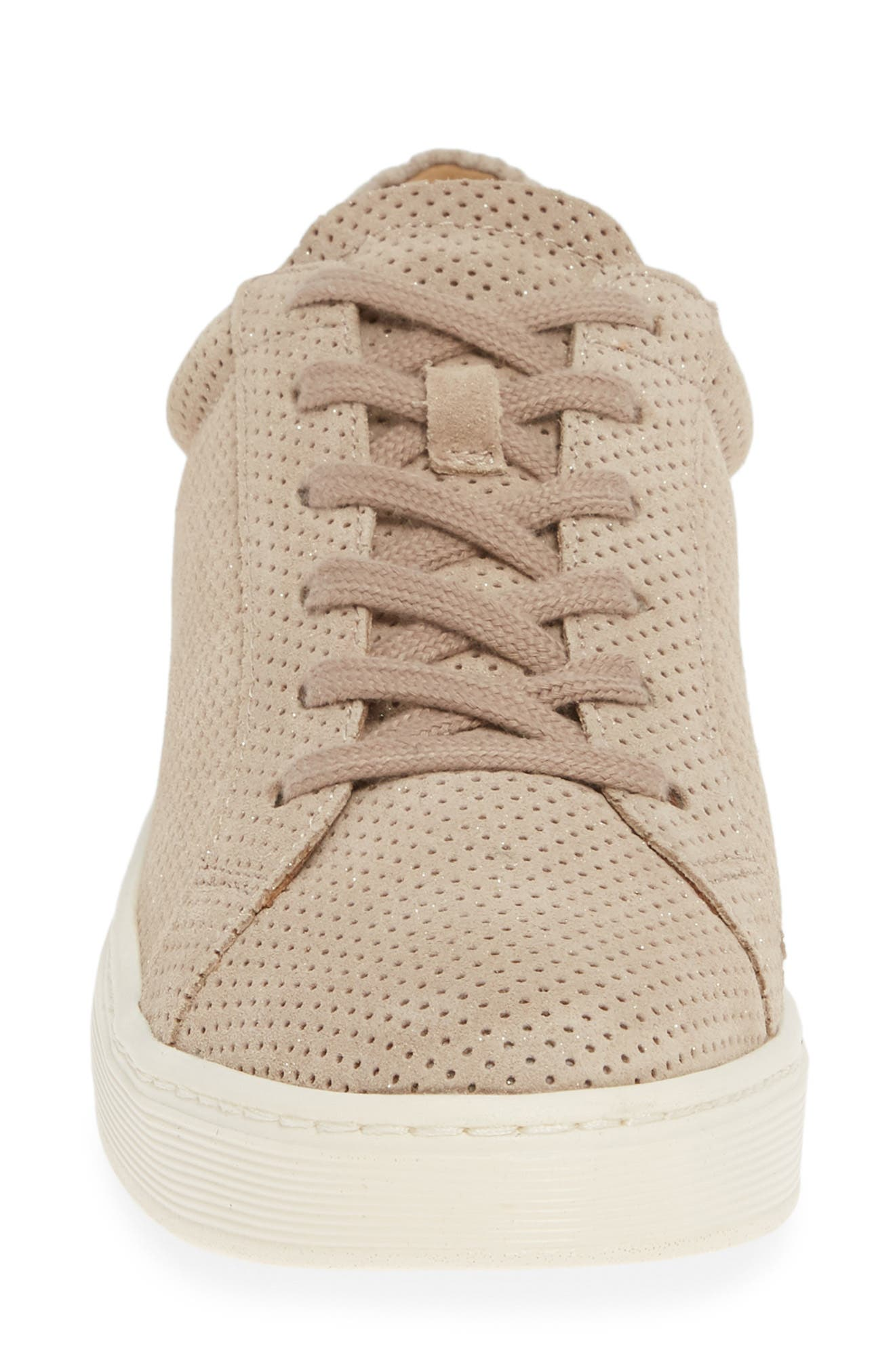 SÖFFT, Somers Perforated Sneaker, Alternate thumbnail 4, color, MOONSTONE GREY SUEDE