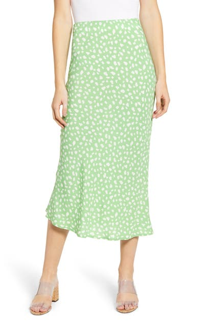 Moon River Cheetah Print Midi Skirt In Lime/ White Dot