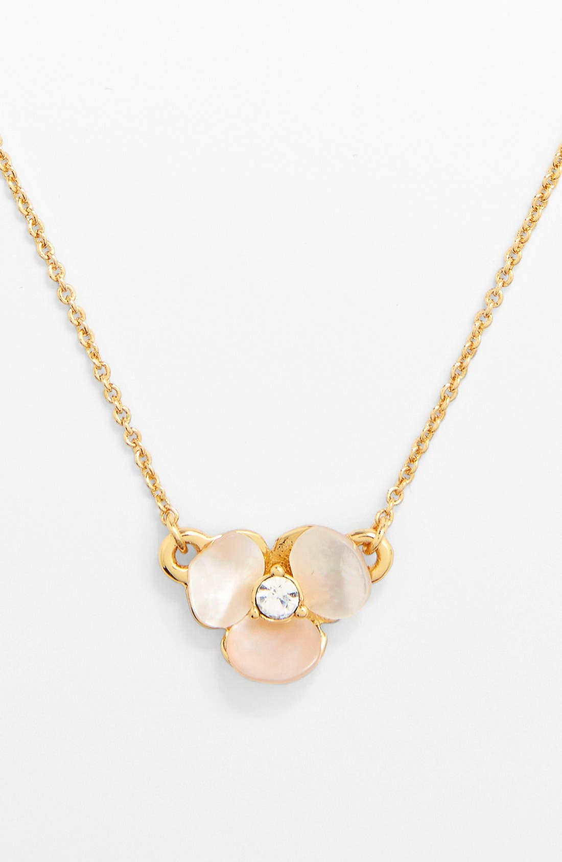 KATE SPADE NEW YORK, 'disco pansy' pendant necklace, Alternate thumbnail 2, color, CREAM/ CLEAR/ GOLD