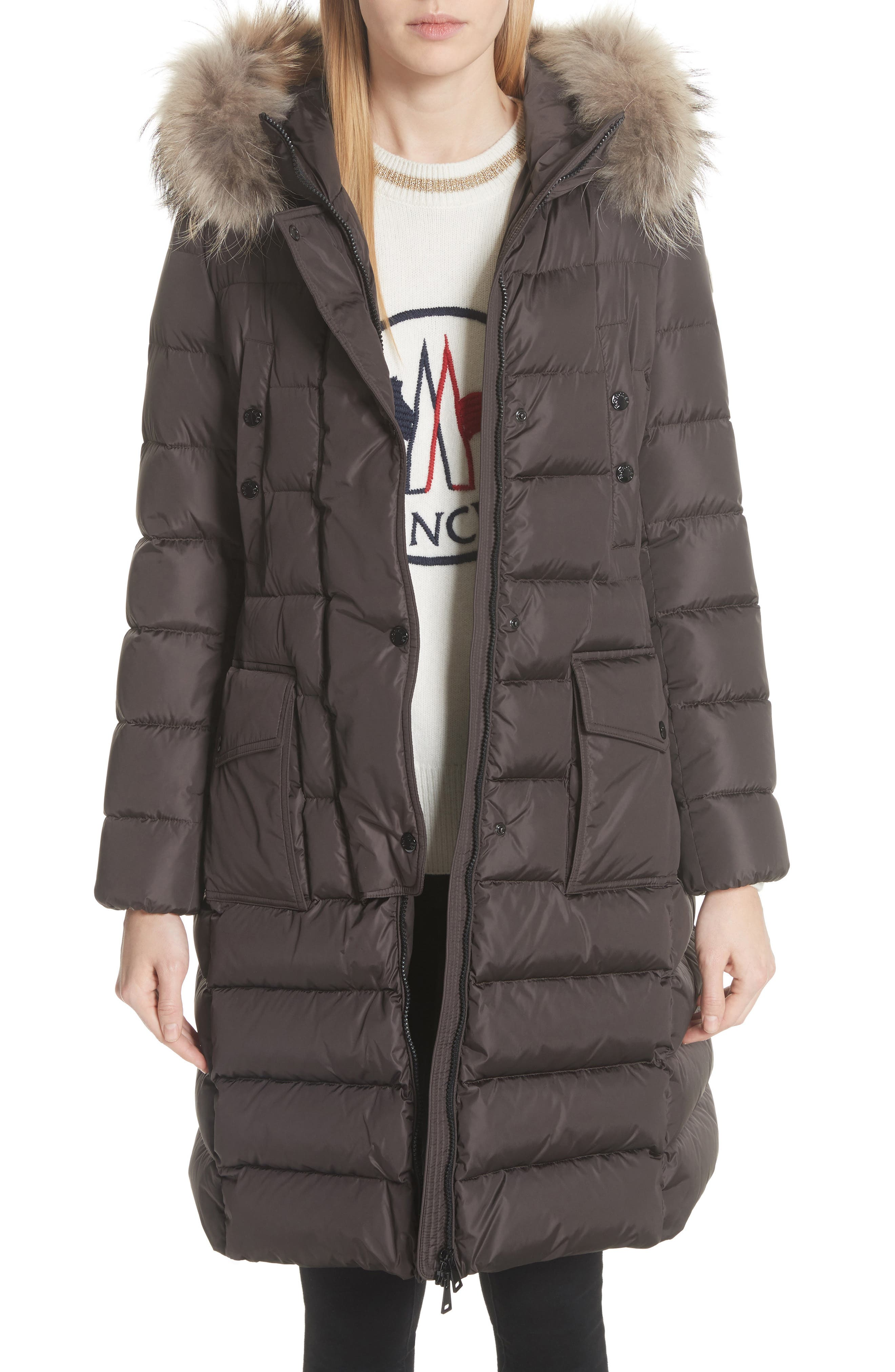 MONCLER, 'Khloe' Water Resistant Nylon Down Puffer Parka with Removable Genuine Fox Fur Trim, Main thumbnail 1, color, BROWN