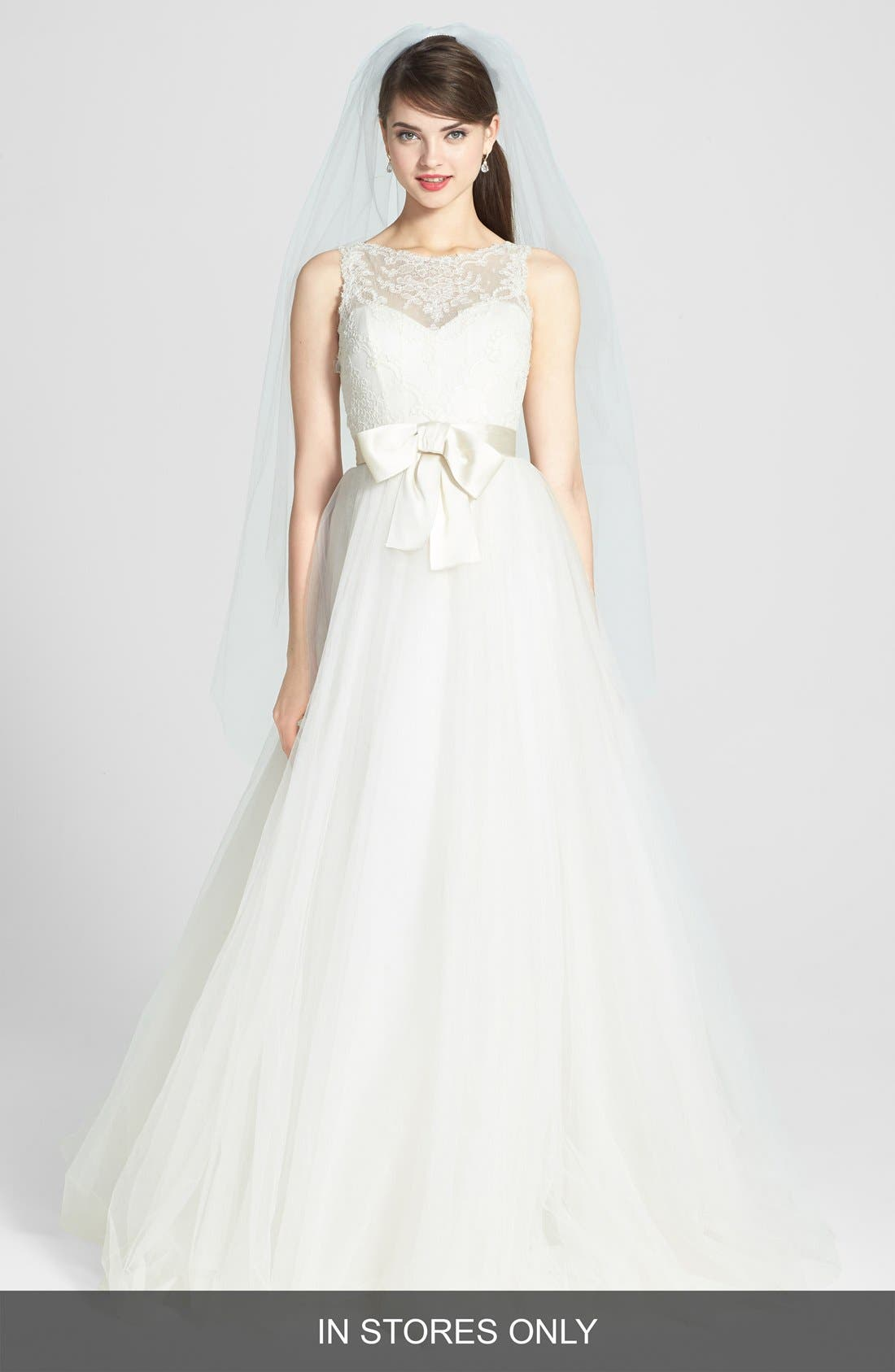 AMSALE, Quinn French Lace Illusion Bodice Tulle Wedding Dress, Main thumbnail 1, color, 900