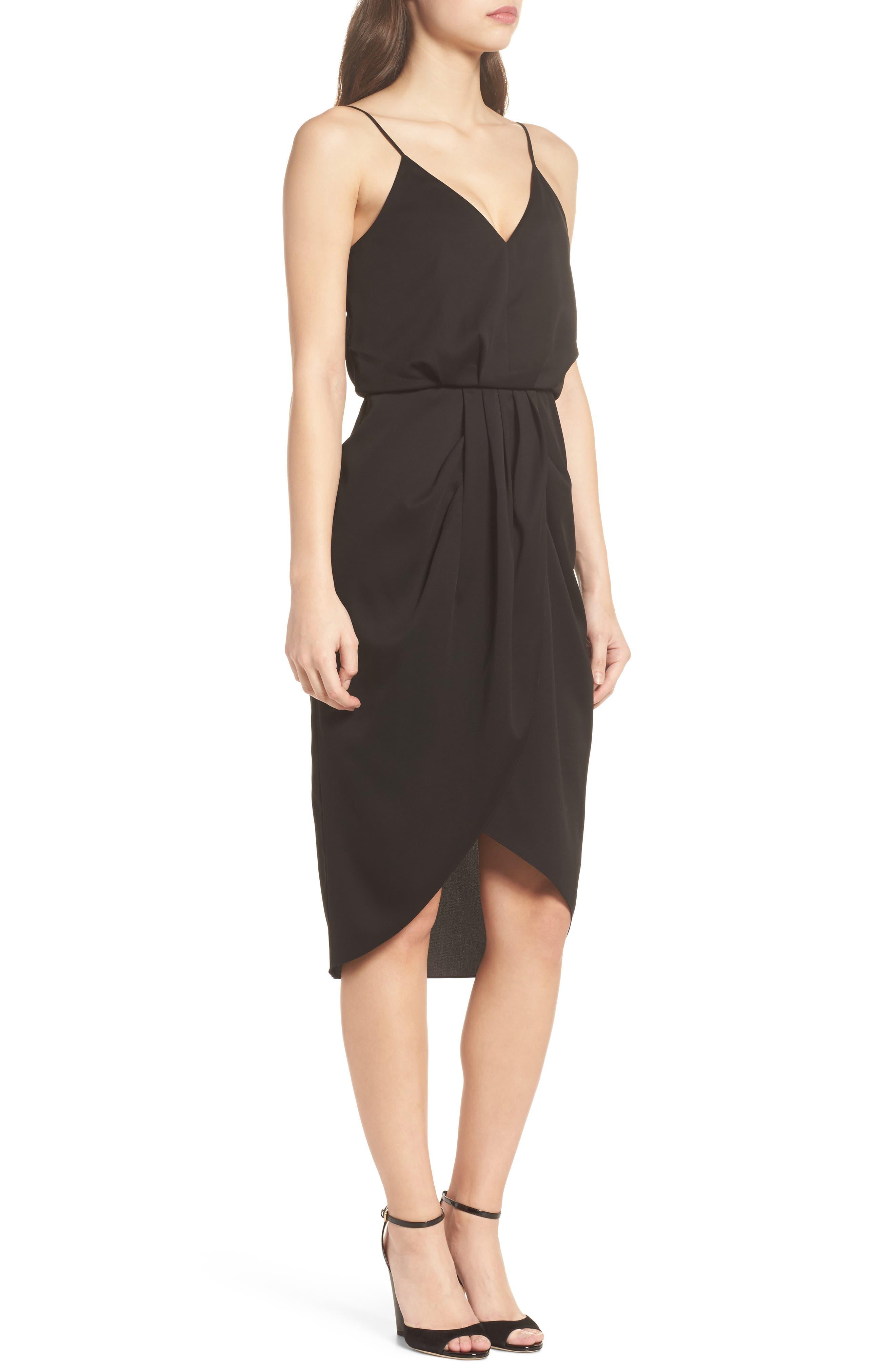 CHELSEA28, Print Faux Wrap Dress, Alternate thumbnail 4, color, BLACK