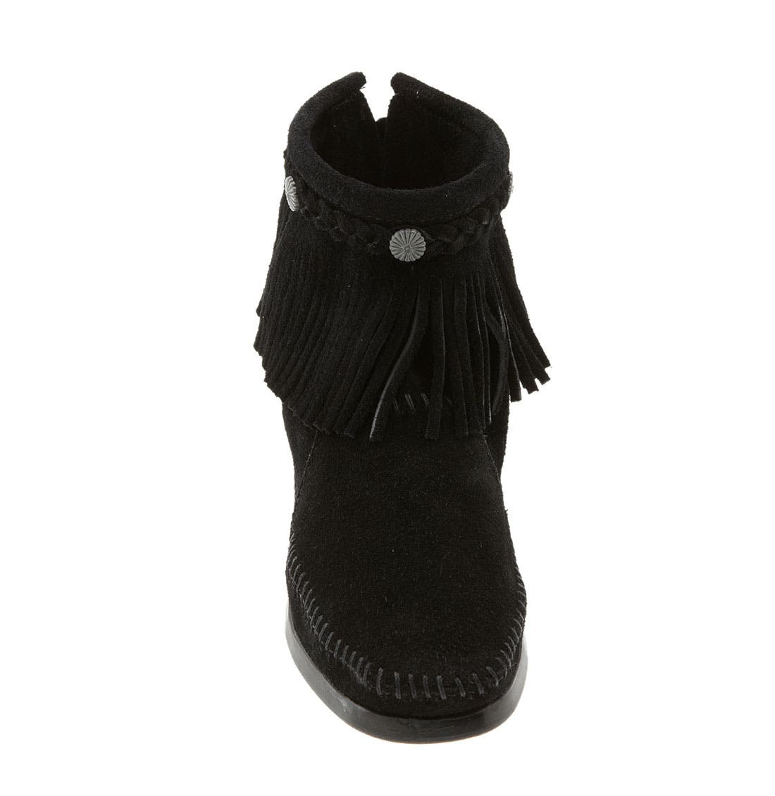 MINNETONKA, Fringed Moccasin Bootie, Alternate thumbnail 3, color, BLACK