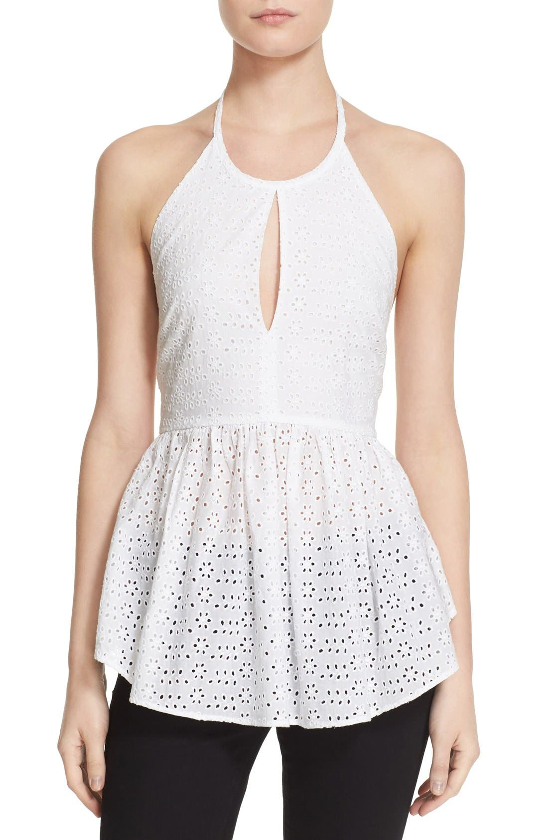 ELIZABETH AND JAMES, 'Perth' Eyelet Peplum Halter Top, Main thumbnail 1, color, 100