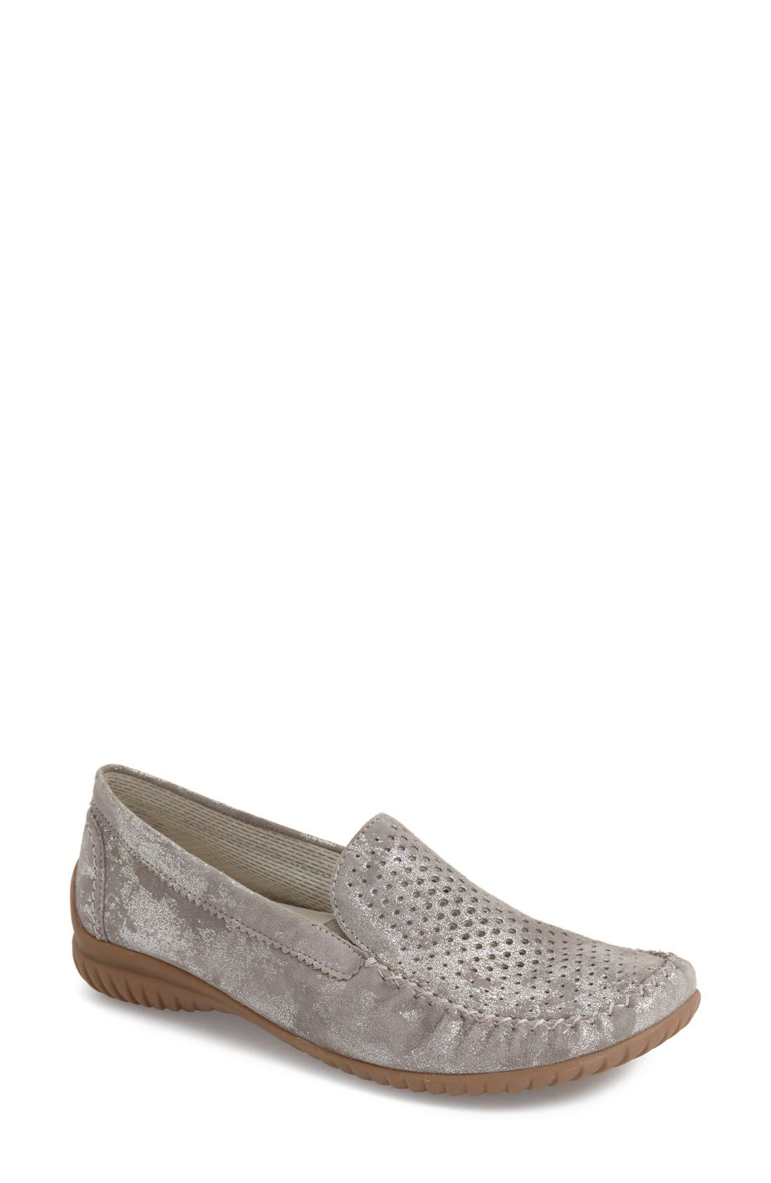 GABOR, Perforated Loafer, Main thumbnail 1, color, GREY CARUSO LEATHER