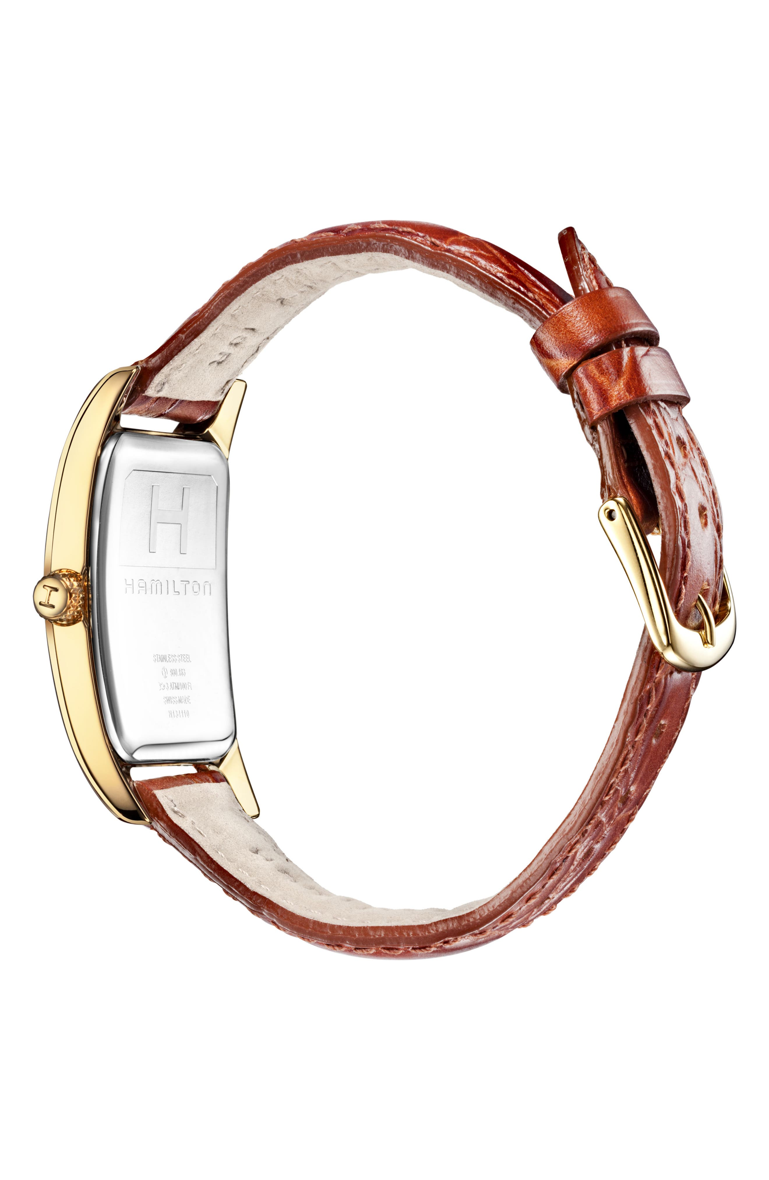 HAMILTON, American Classic Boulton Leather Strap Watch, 27mm x 31mm, Alternate thumbnail 2, color, BROWN/ WHITE/ GOLD