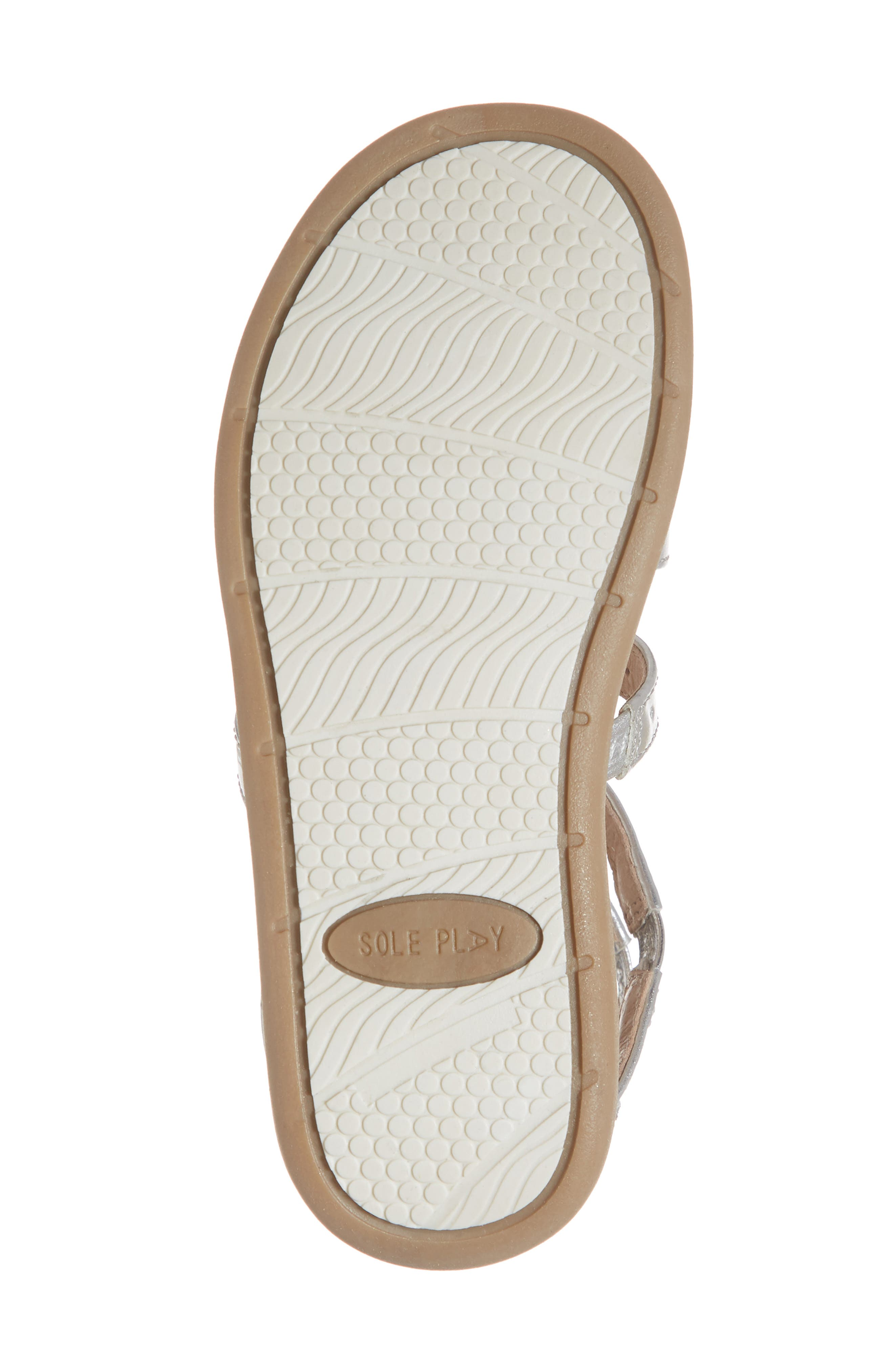 SOLE PLAY, Camille Metallic Sandal, Alternate thumbnail 6, color, SILVER