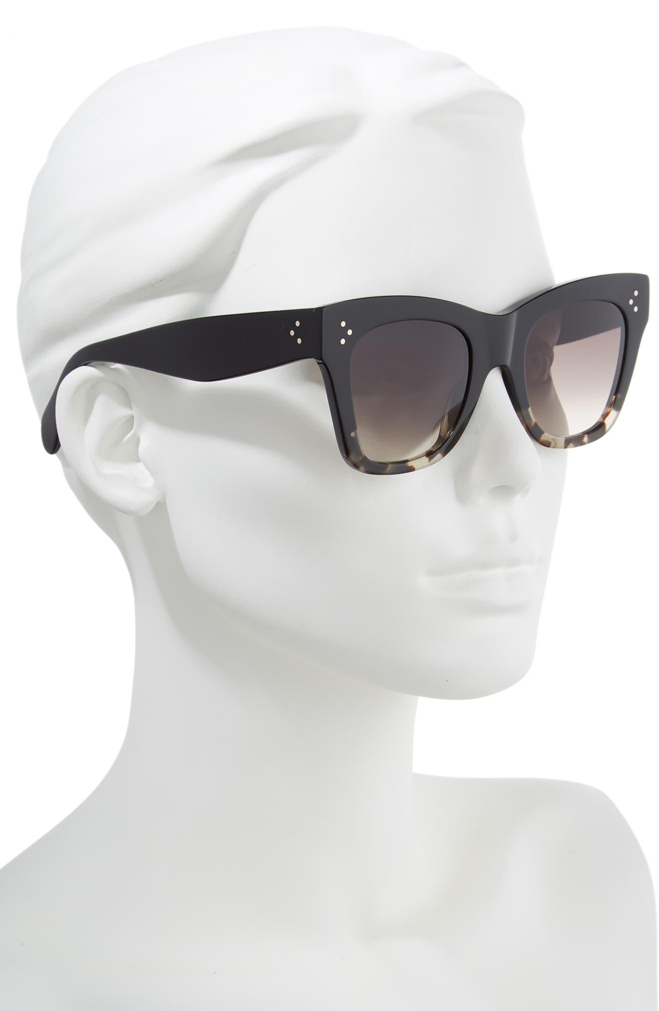 CELINE, 50mm Gradient Butterfly Sunglasses, Alternate thumbnail 3, color, BLACK/ GREY HAVANA/ BROWN