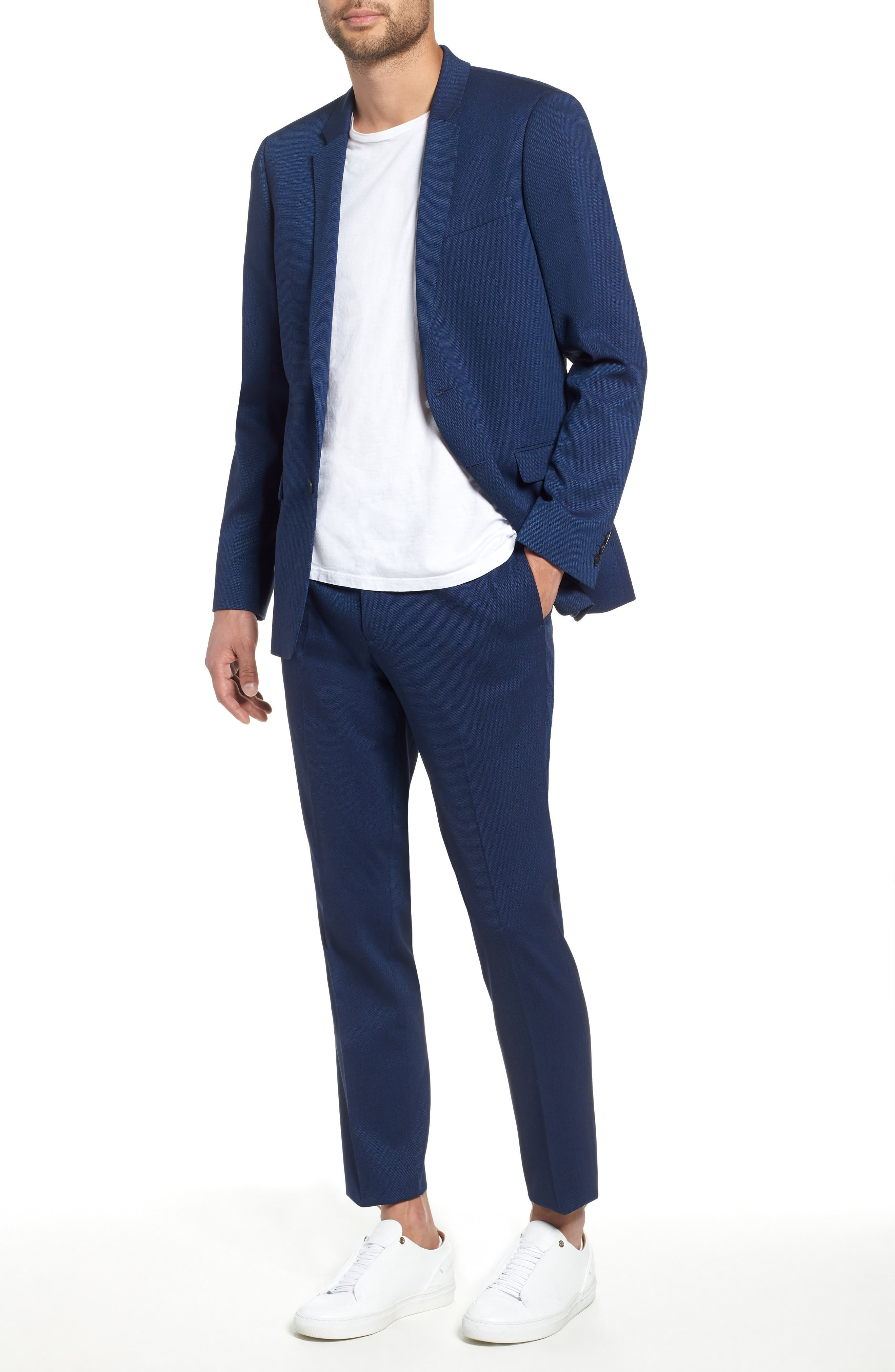 TOPMAN, Skinny Fit Suit Jacket, Alternate thumbnail 5, color, BLUE