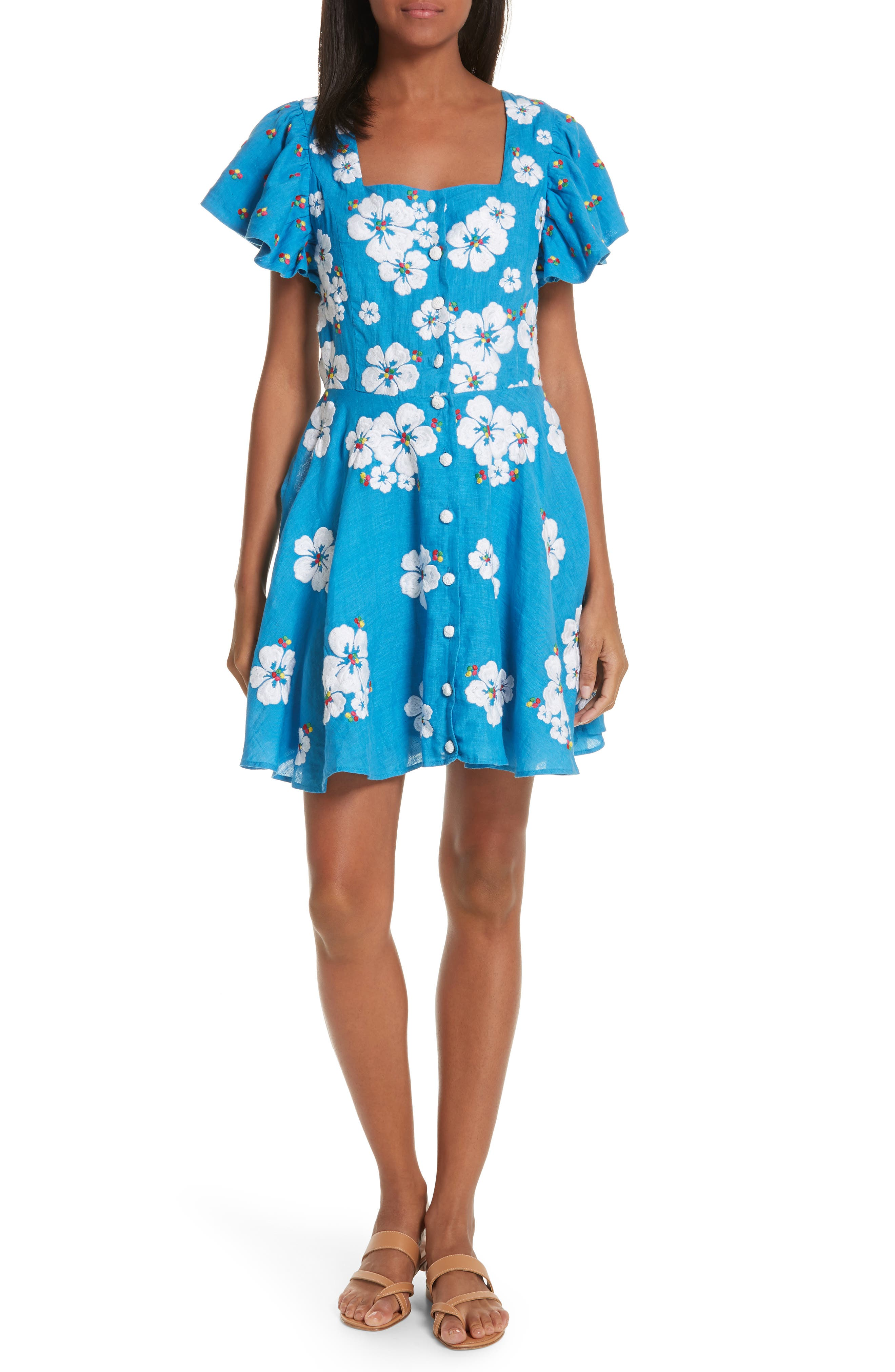 All Things Mochi Kay Embroidered Linen Dress, Blue
