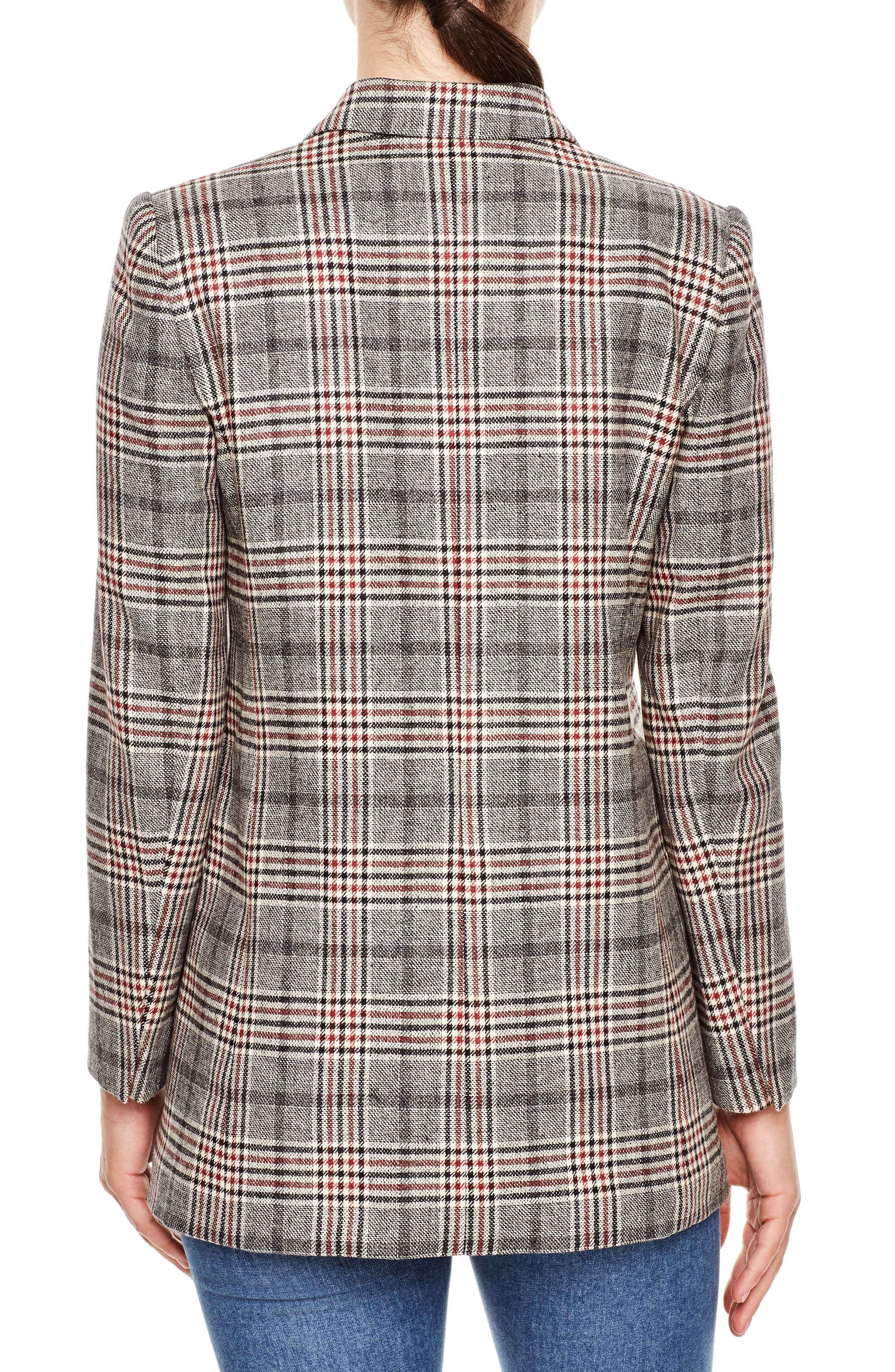 SANDRO, Plaid Wool Blend Jacket, Alternate thumbnail 2, color, 020