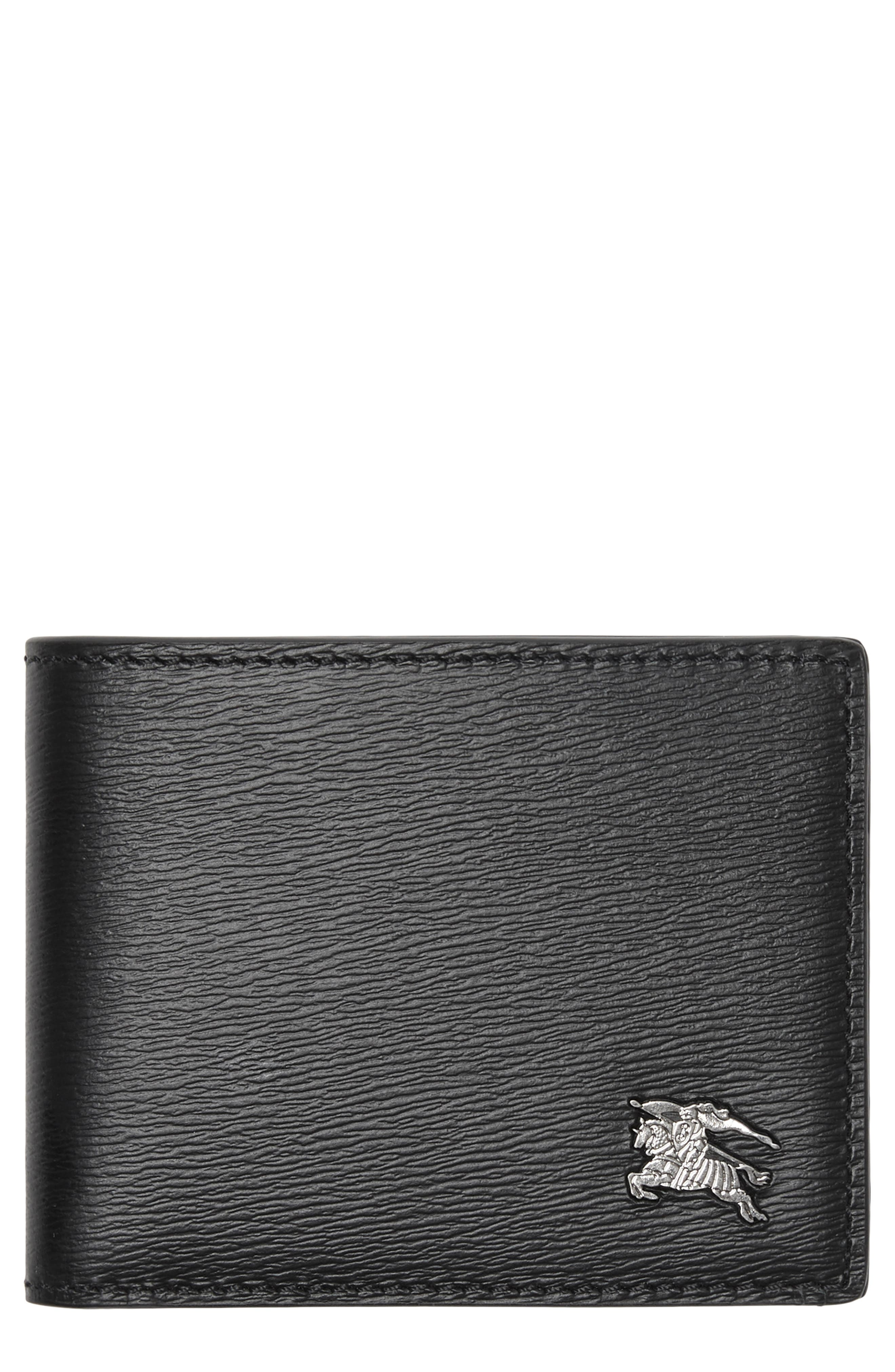 BURBERRY, Leather Bifold Wallet, Main thumbnail 1, color, 001