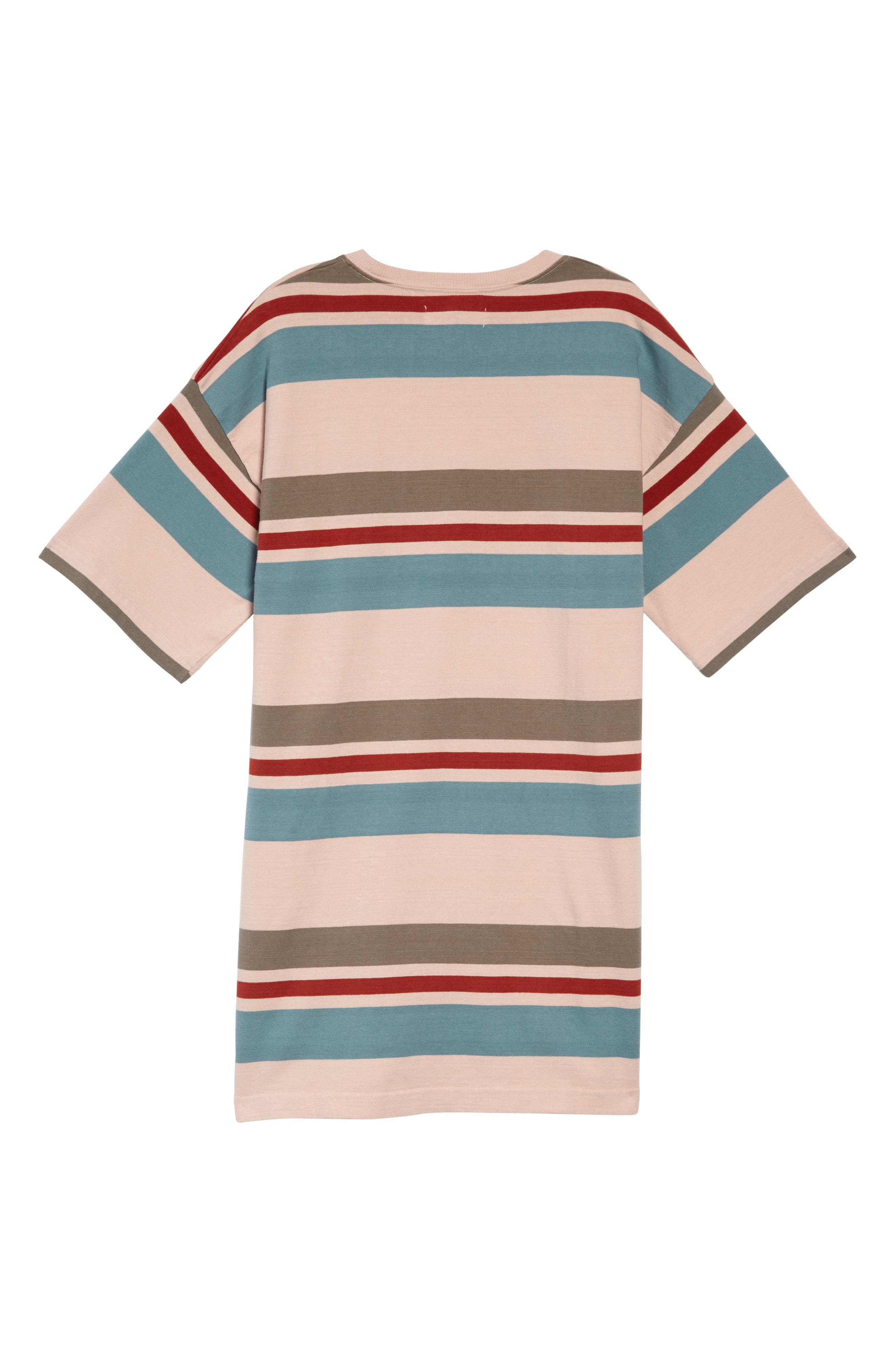TREASURE & BOND, Rugby Stripe Shirtdress, Alternate thumbnail 2, color, PINK PEACH RUGBY STRIPE