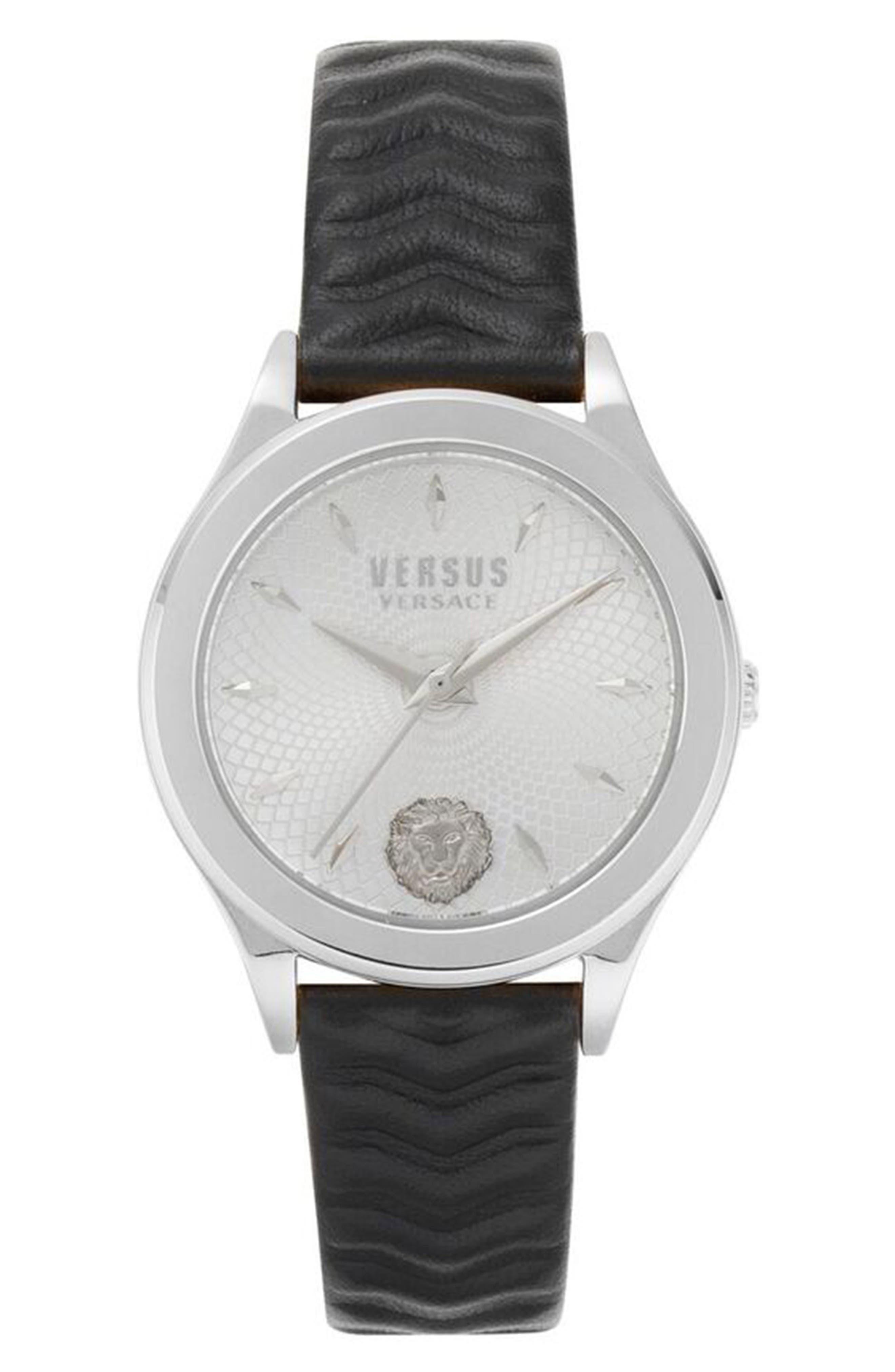 VERSUS VERSACE, Mount Pleasant Leather Strap Watch, 34mm, Main thumbnail 1, color, BLACK/ SILVER