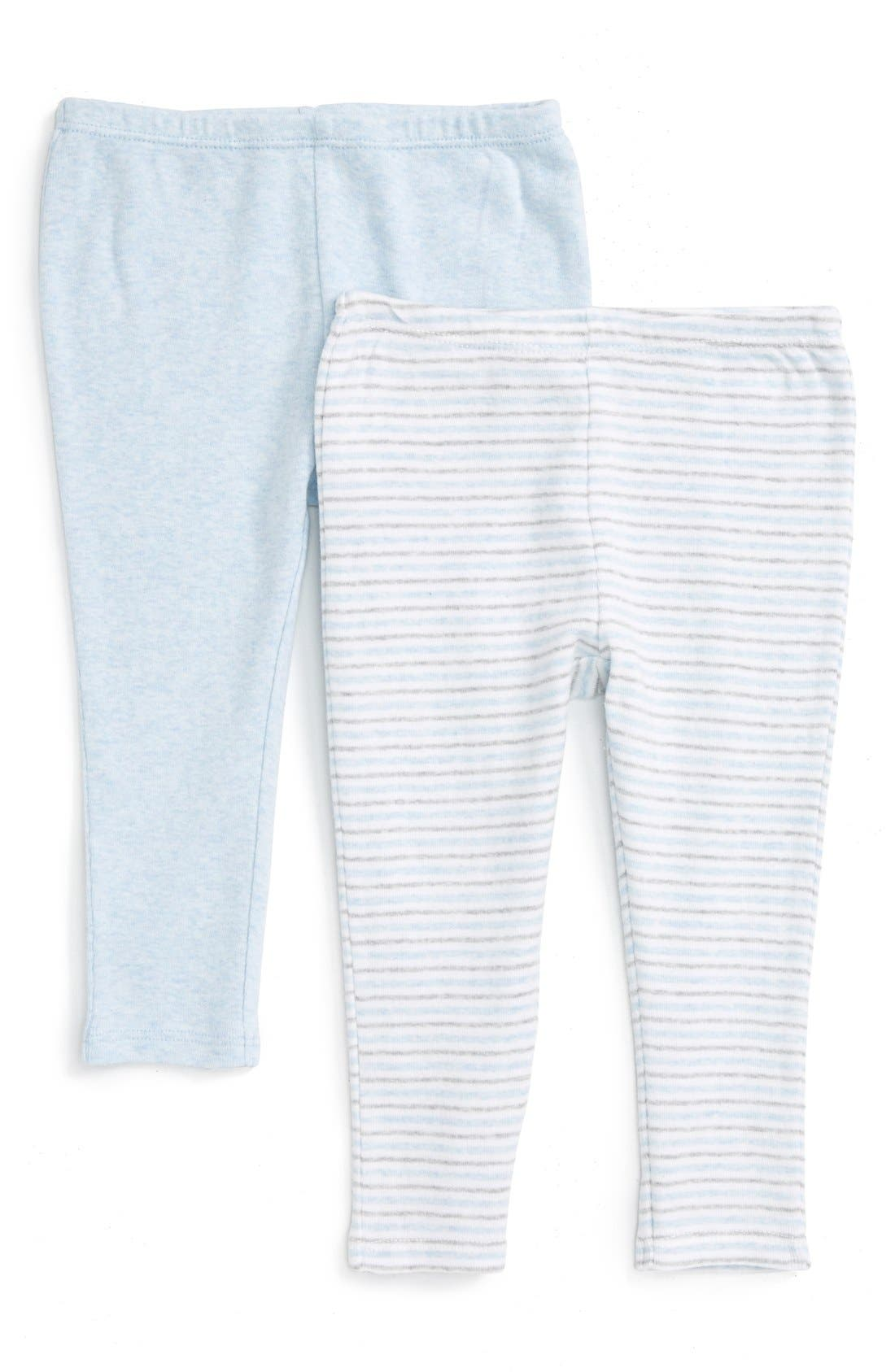 NORDSTROM BABY, 2-Pack Leggings, Main thumbnail 1, color, BLUE PRECIOUS HEATHER PACK