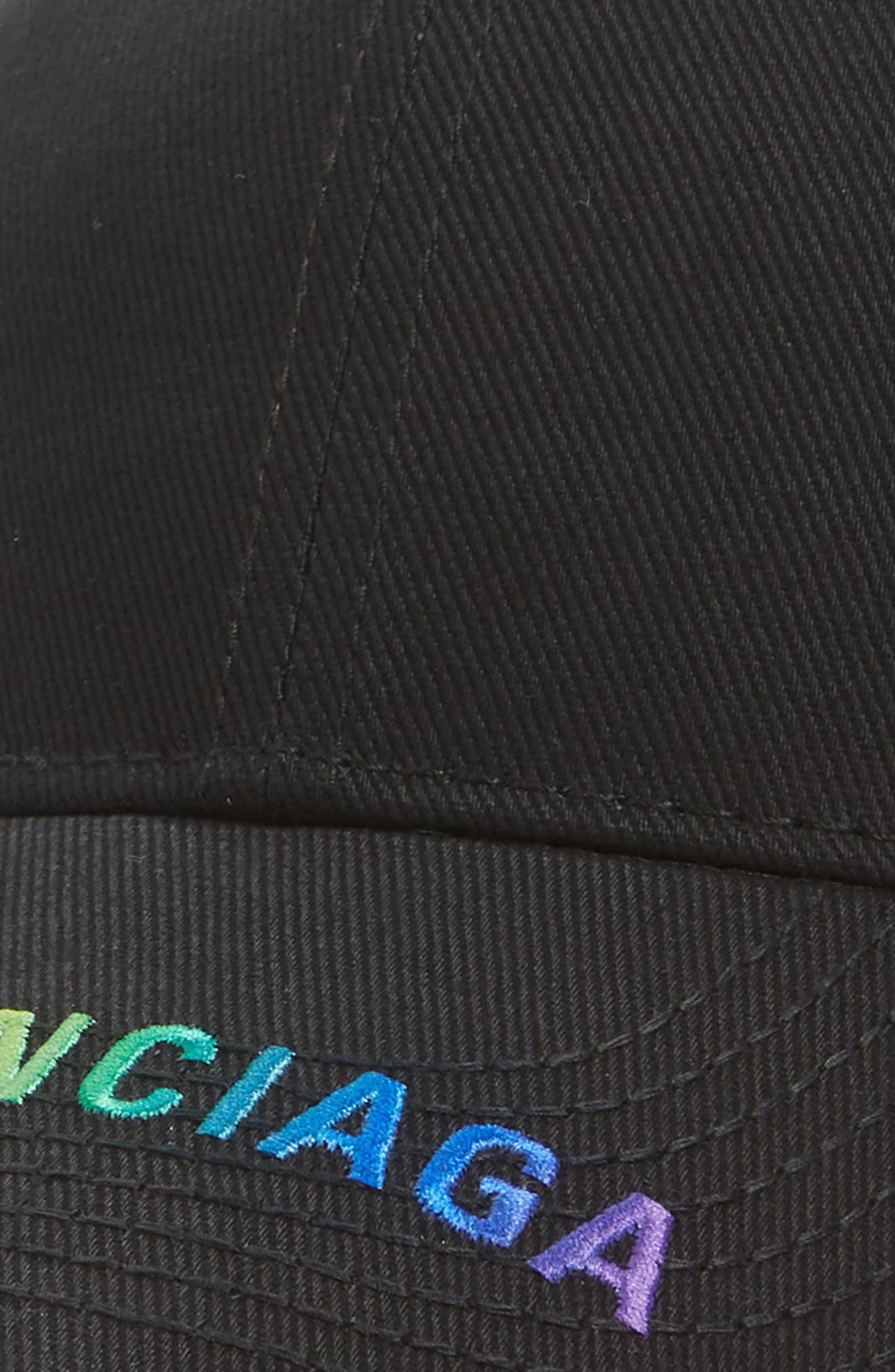 BALENCIAGA, Rainbow Logo Baseball Cap, Alternate thumbnail 3, color, 1000-BLACK