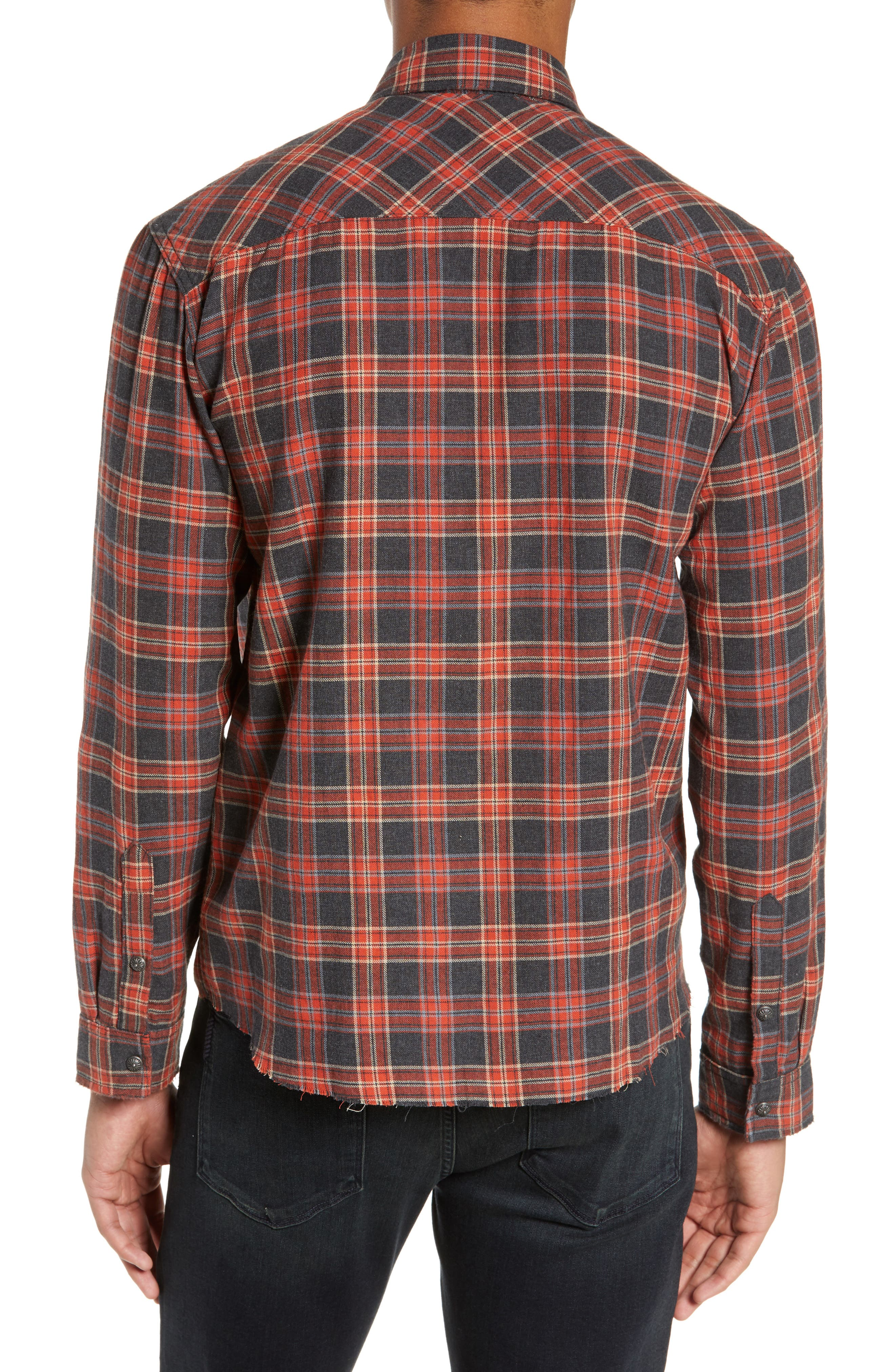 THE KOOPLES, Plaid Regular Fit Flannel Shirt, Alternate thumbnail 3, color, 800