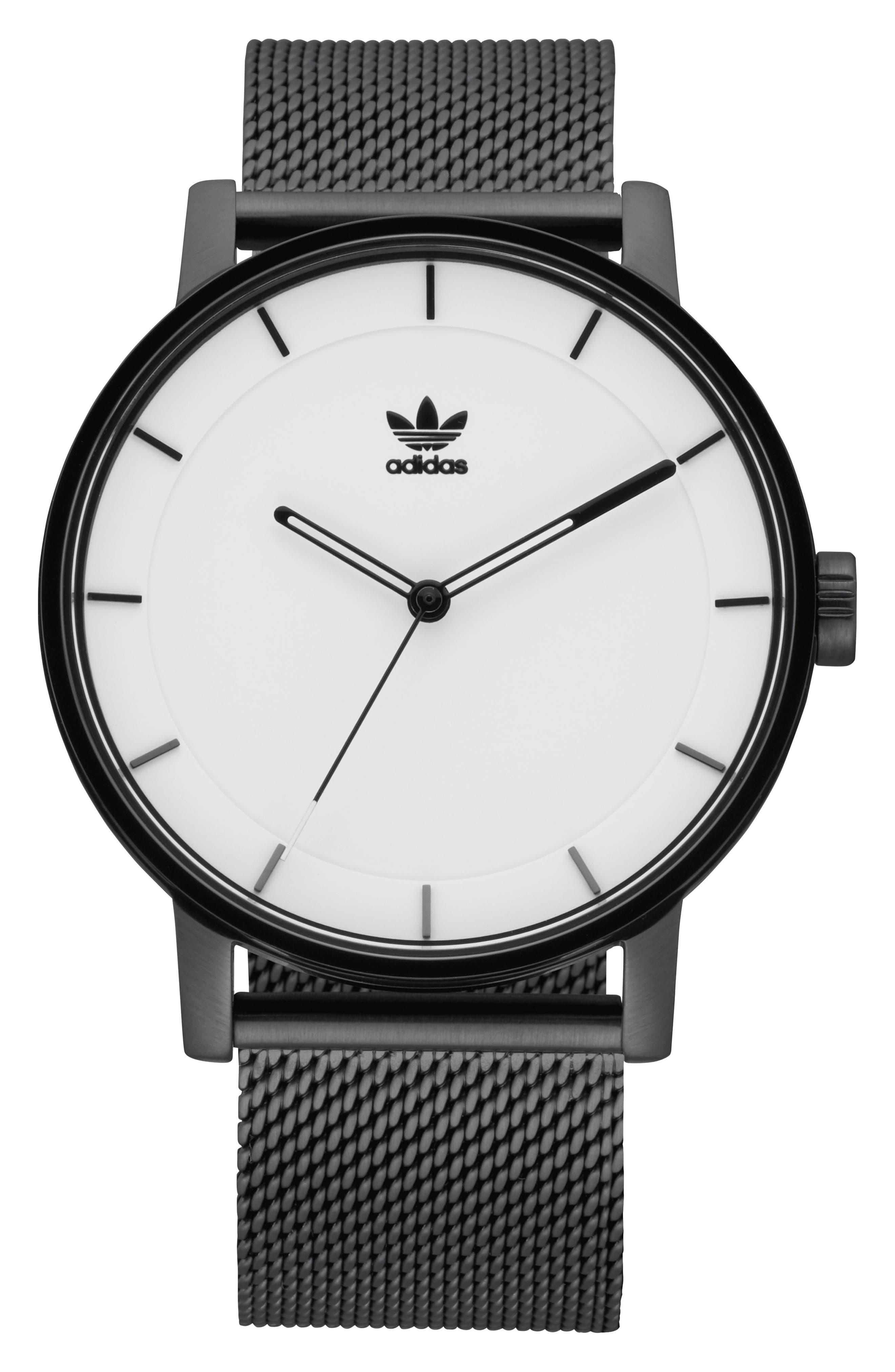 ADIDAS, District Milanese Bracelet Watch, 40mm, Main thumbnail 1, color, BLACK/ WHITE