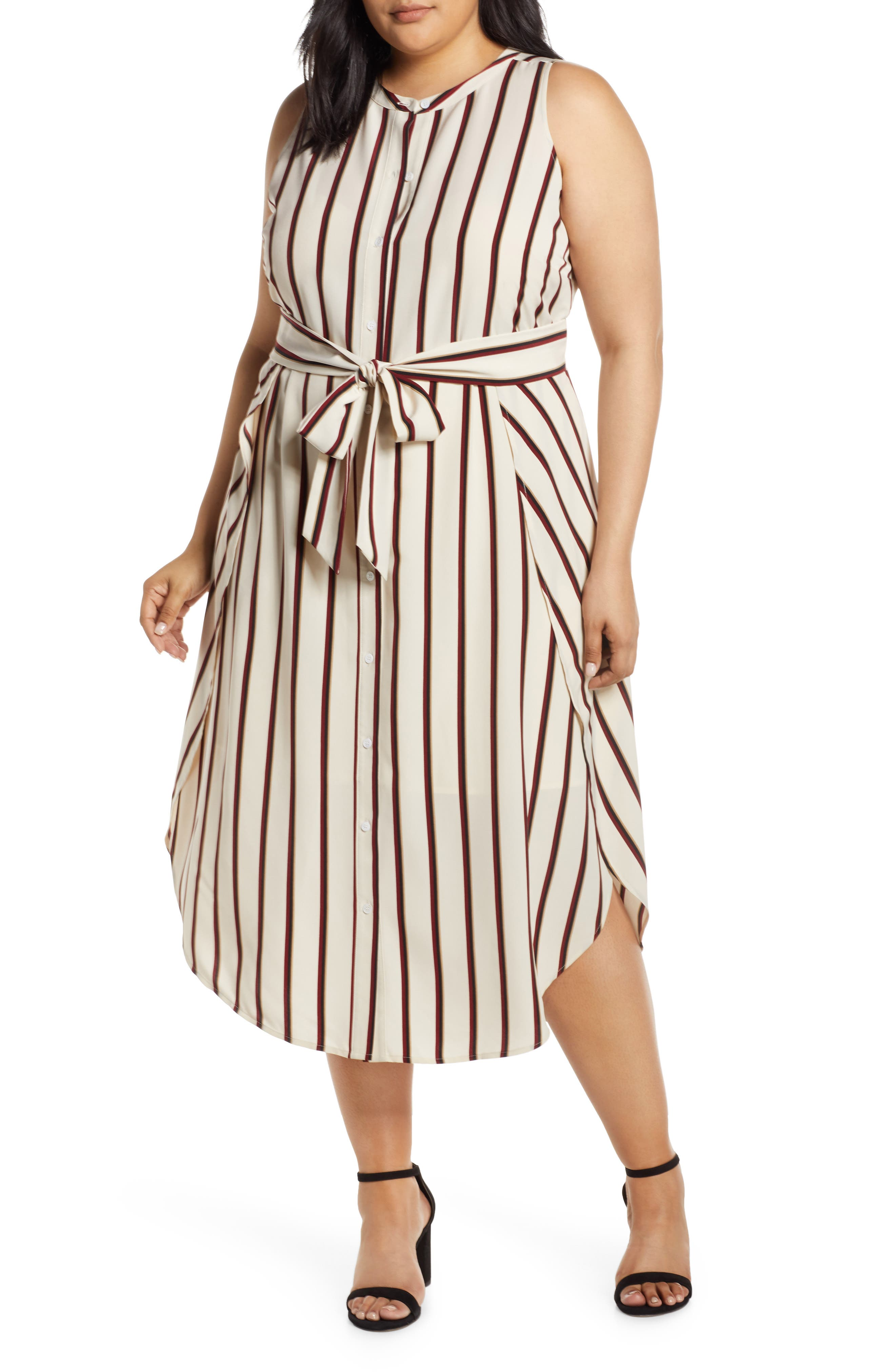 Plus Size Vince Camuto Caravan Stripe Dress, Brown