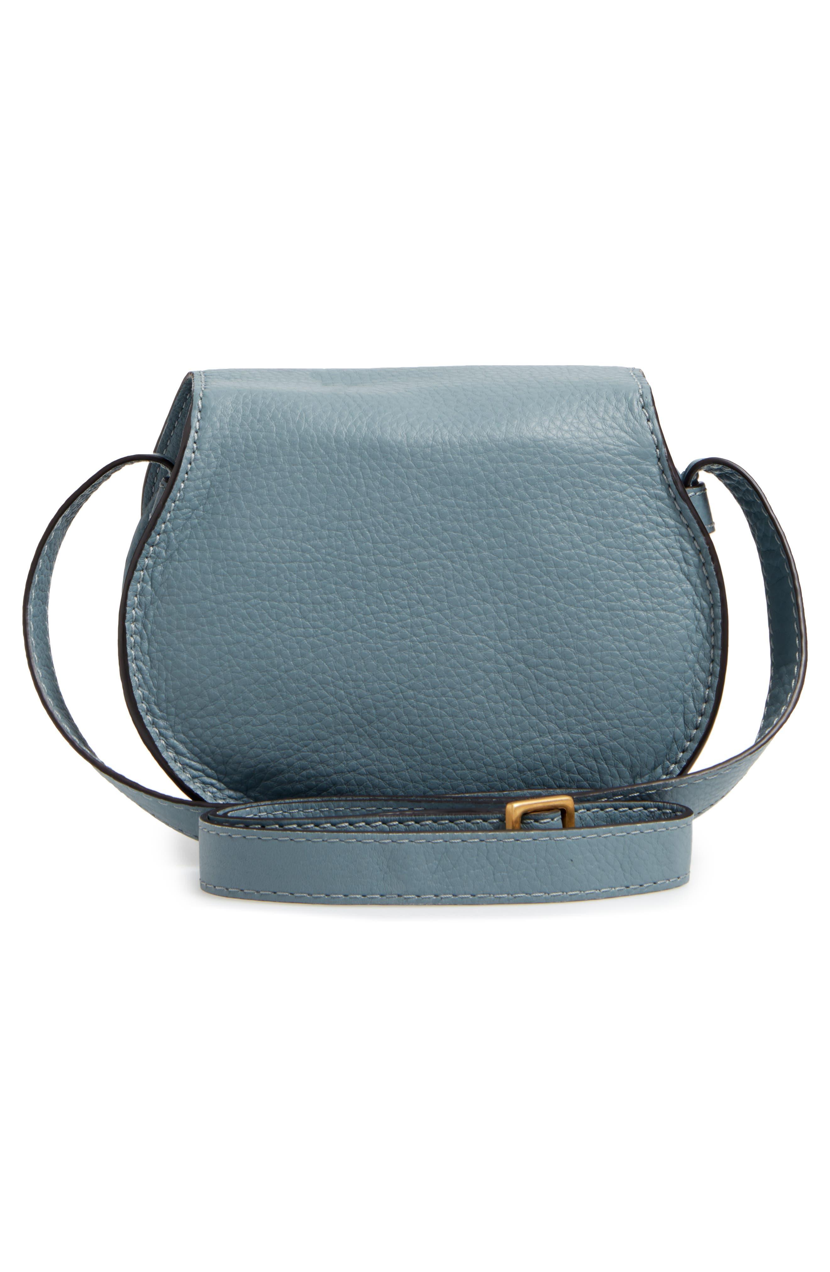 CHLOÉ, 'Mini Marcie' Leather Crossbody Bag, Alternate thumbnail 3, color, BFC CLOUDY BLUE
