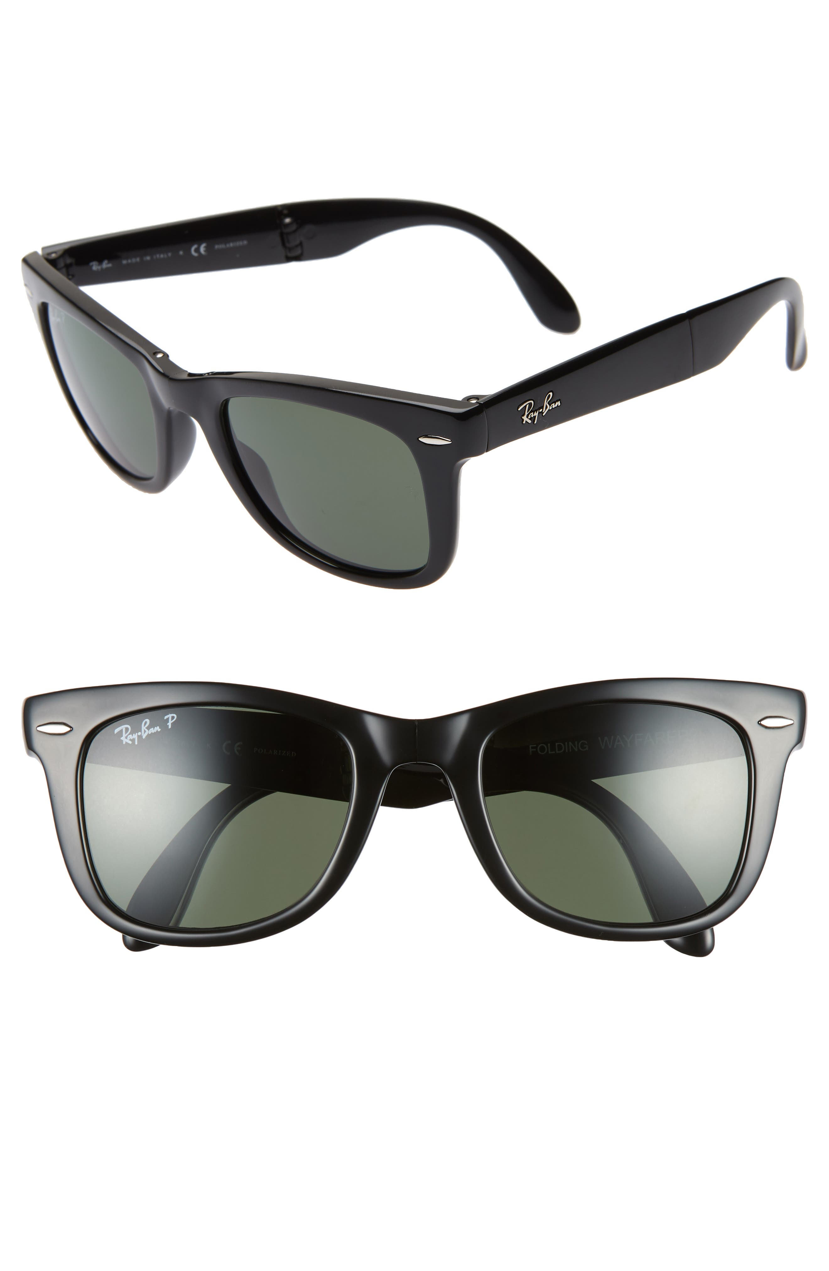 RAY-BAN 50mm Wayfarer Polarized Folding Sunglasses, Main, color, BLACK/ GREEN SOLID