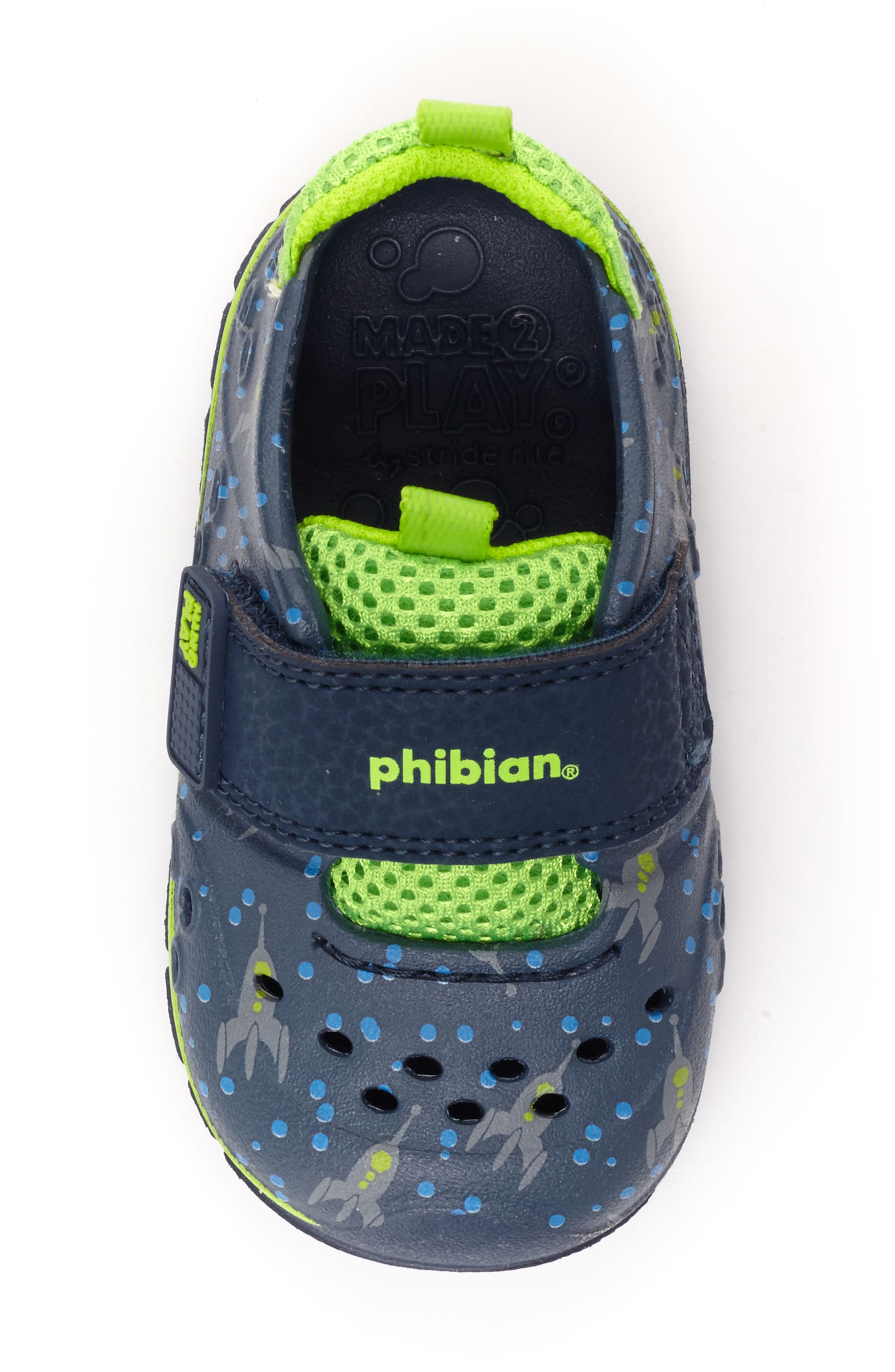 STRIDE RITE, Made2Play<sup>®</sup> Phibian Sneaker, Alternate thumbnail 5, color, NAVY ROCKET SHIP