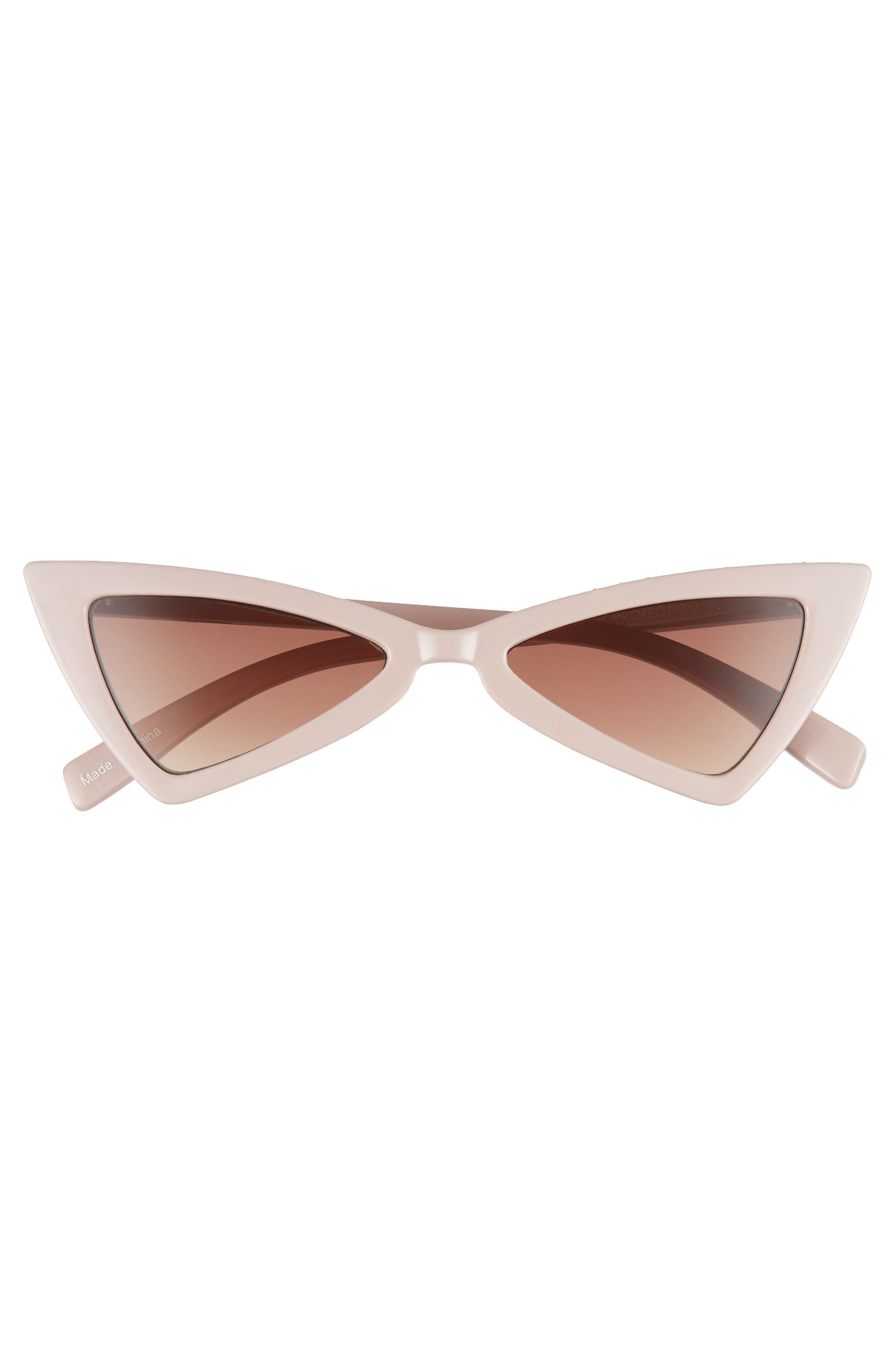 LEITH, 52mm Stud Cat Eye Sunglasses, Alternate thumbnail 3, color, TAUPE/ GOLD