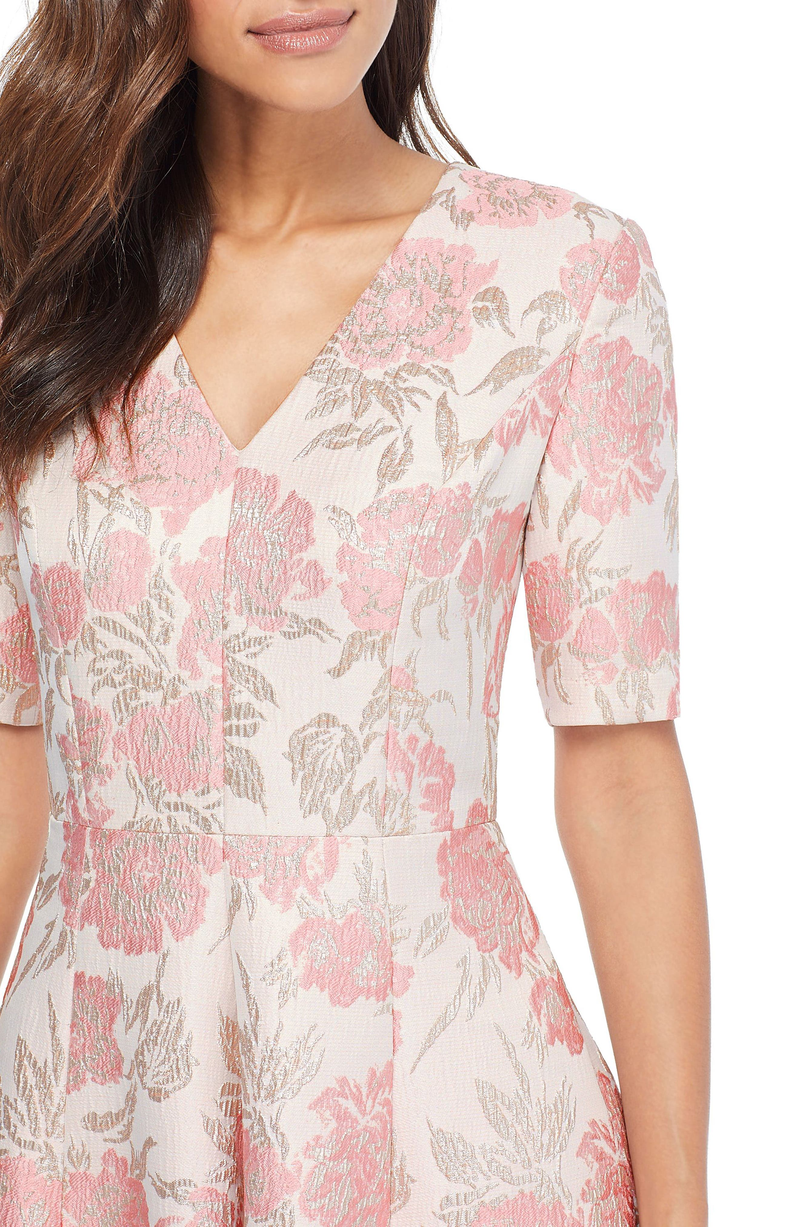 GAL MEETS GLAM COLLECTION, Adair Pink Passion Rose Jacquard Fit & Flare Dress, Alternate thumbnail 5, color, 685