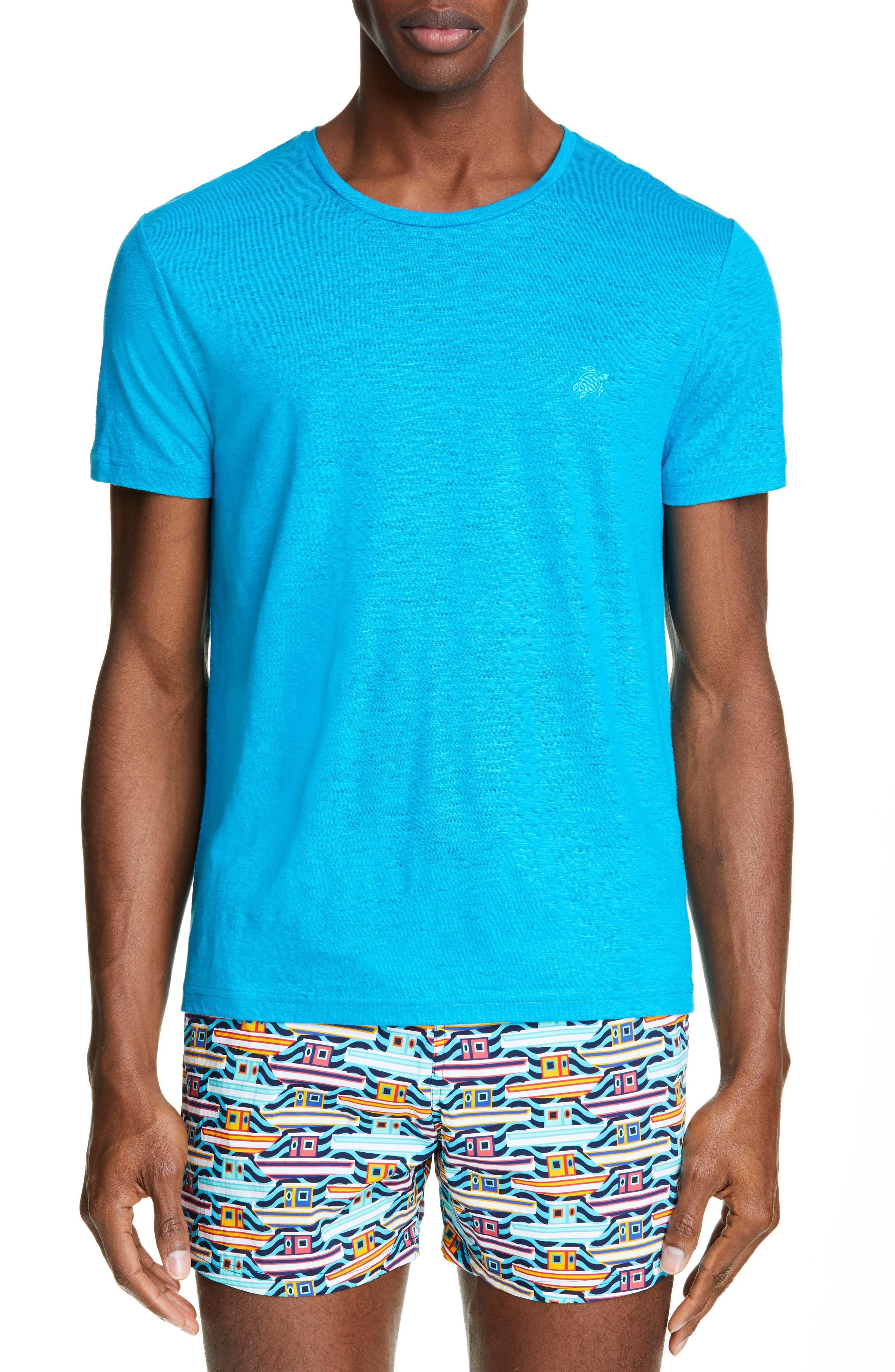 VILEBREQUIN, Linen Jersey T-Shirt, Main thumbnail 1, color, SEYCHELLES