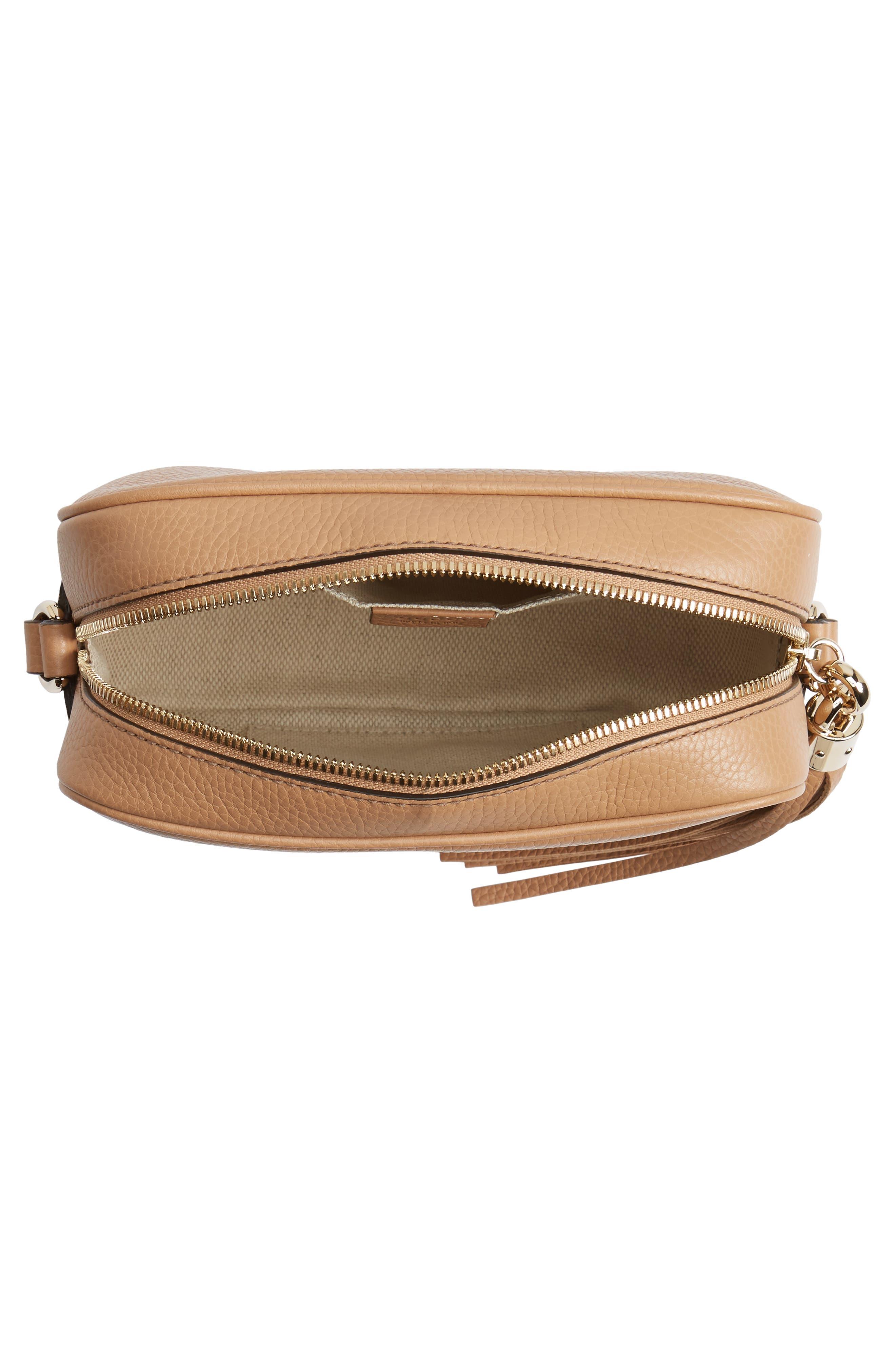 GUCCI, Soho Disco Leather Bag, Alternate thumbnail 4, color, 2754 CAMELIA