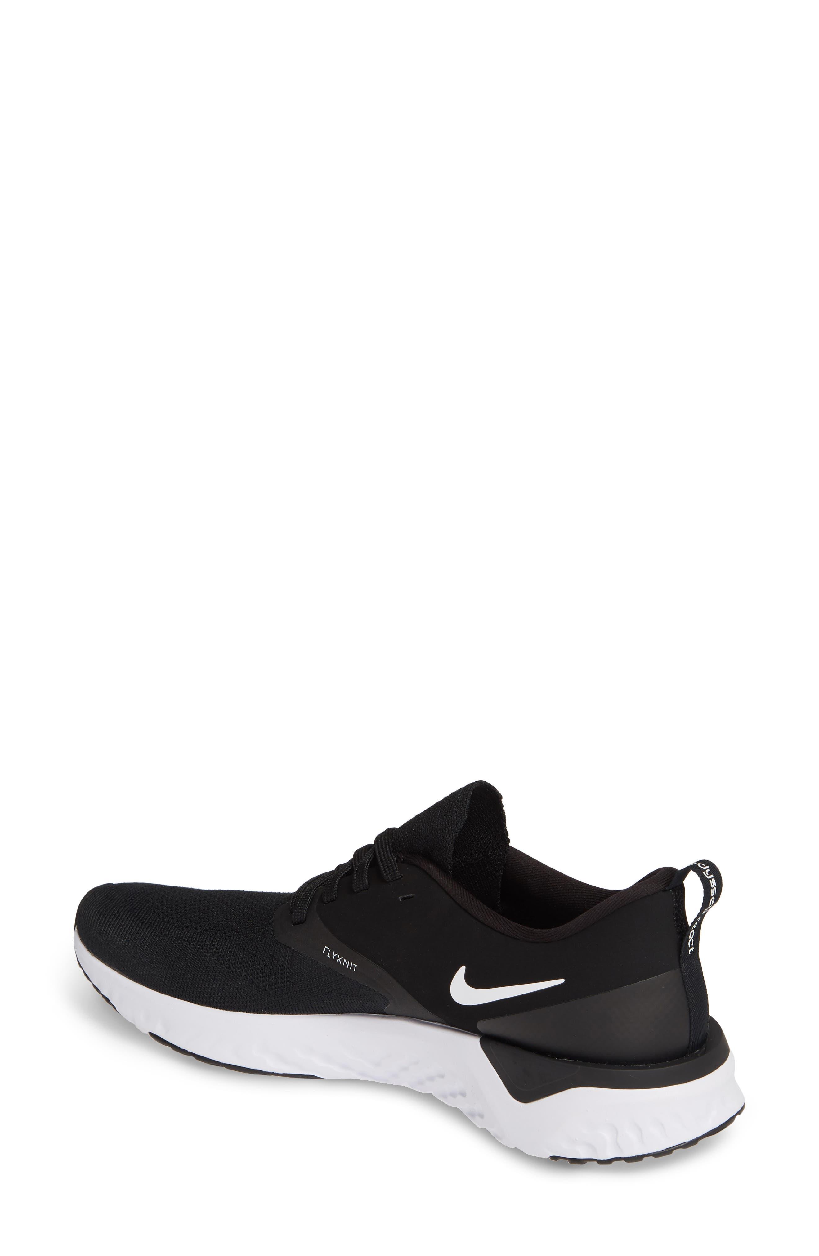 NIKE, Odyssey React 2 Flyknit Running Shoe, Alternate thumbnail 2, color, BLACK/ WHITE