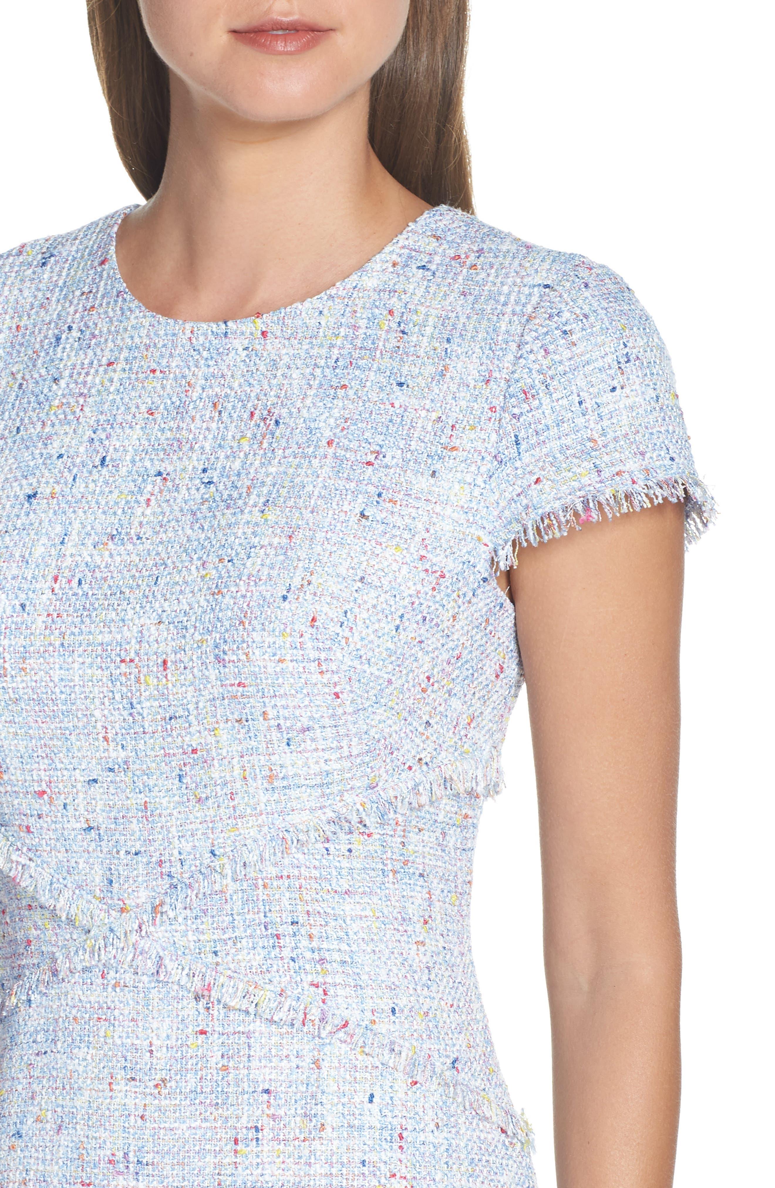 ELIZA J, Sheath Tweed Sheath Dress, Alternate thumbnail 5, color, BLUE
