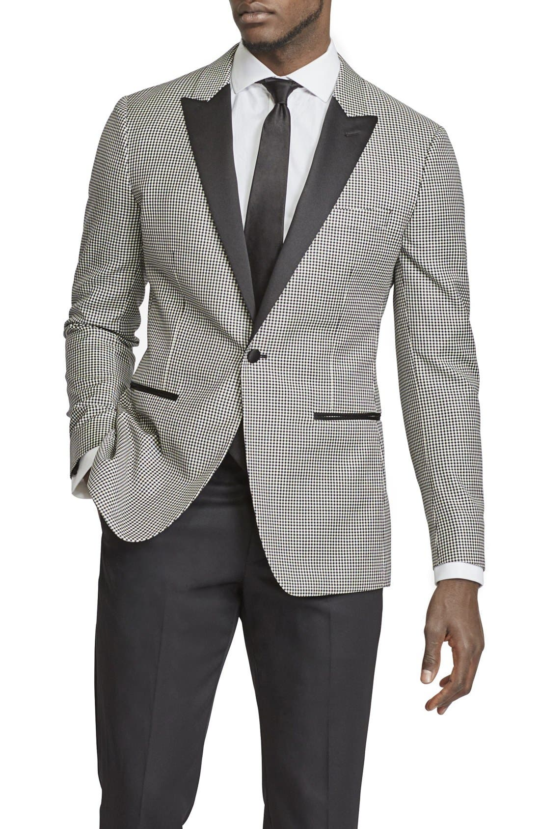 BONOBOS, Trim Fit Check Wool Dinner Jacket, Main thumbnail 1, color, 001