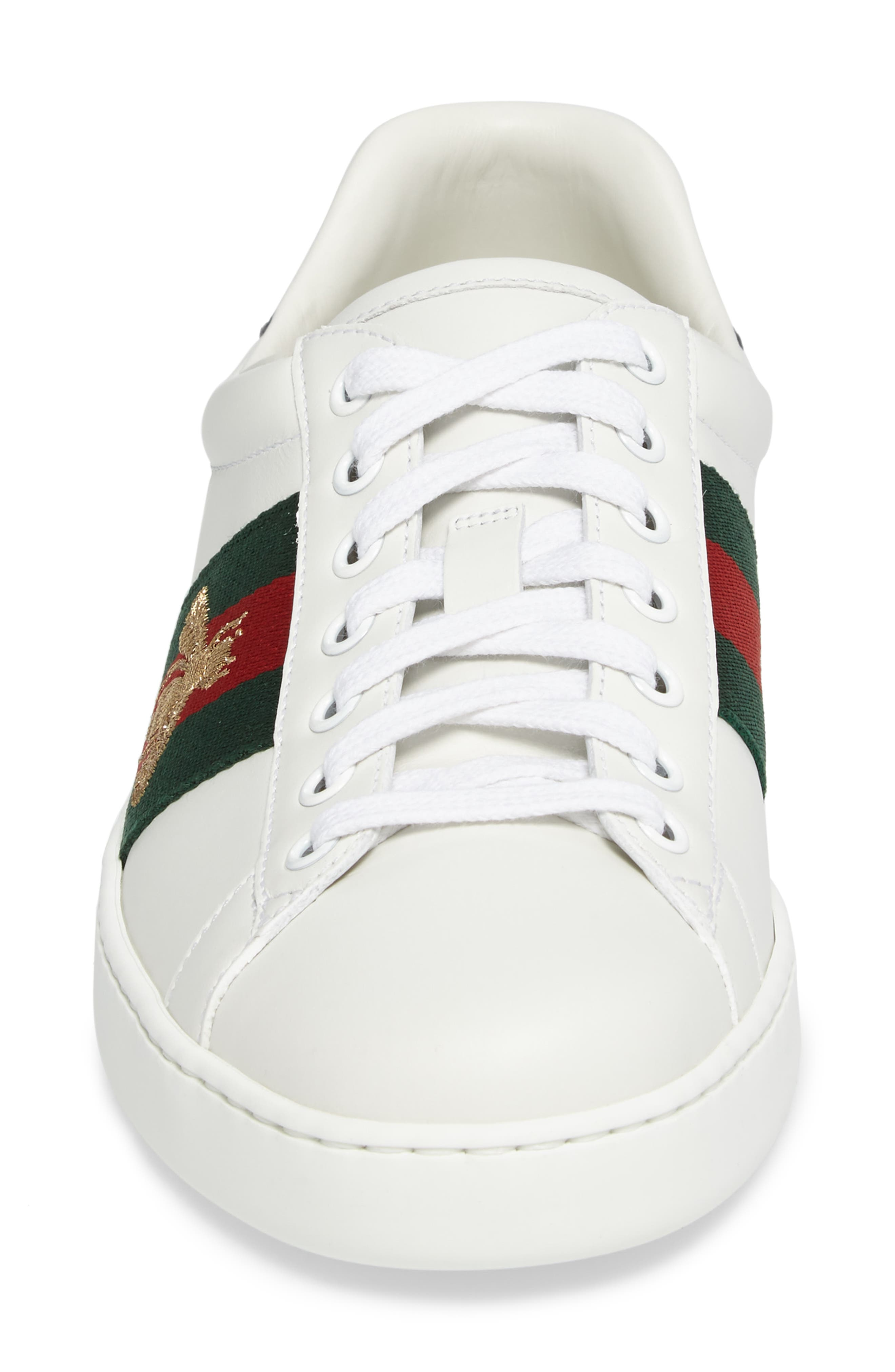 GUCCI, New Ace Sneaker, Alternate thumbnail 4, color, BIANCO MULTI LEATHER