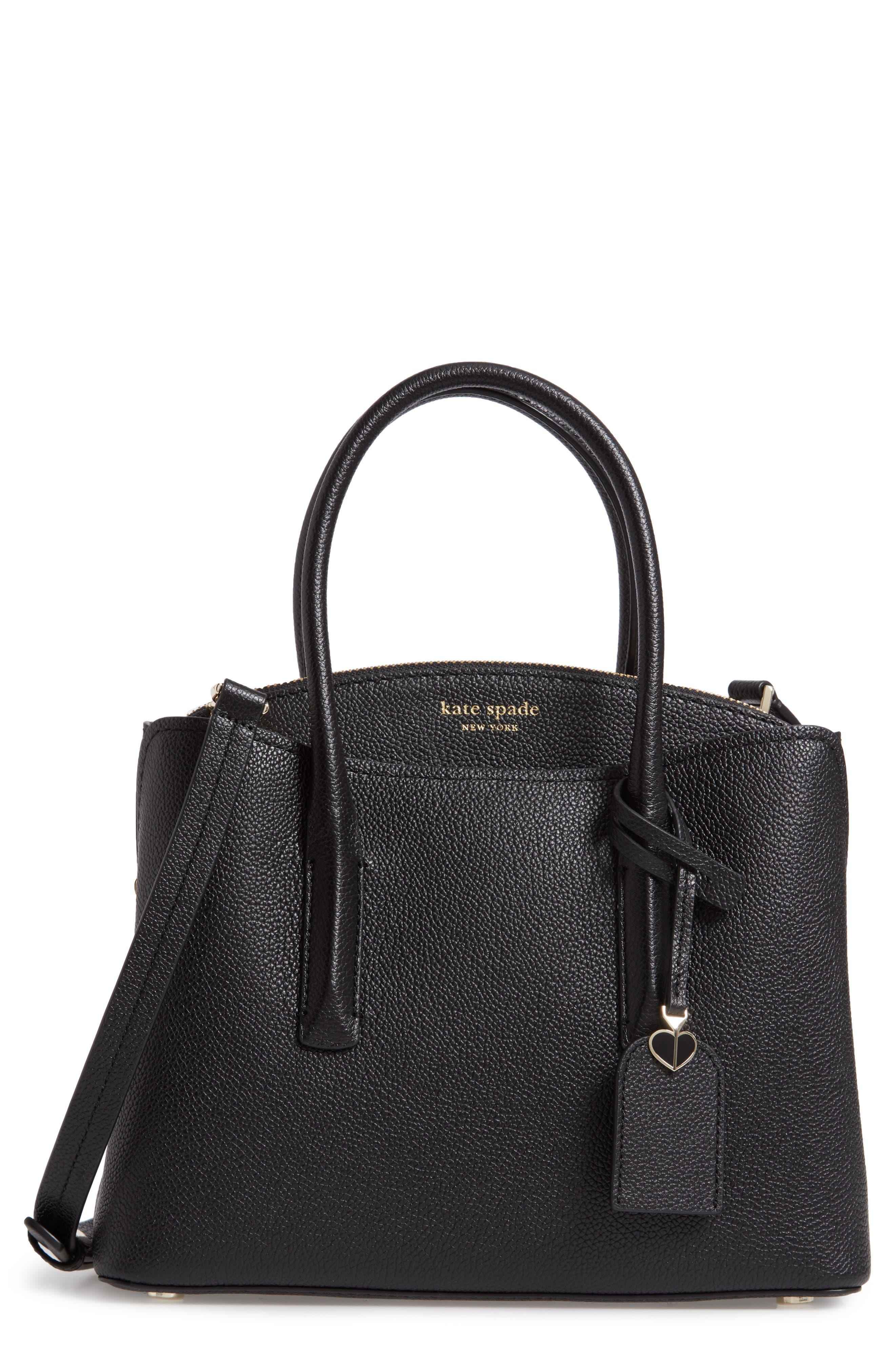 KATE SPADE NEW YORK, medium margaux leather satchel, Main thumbnail 1, color, BLACK