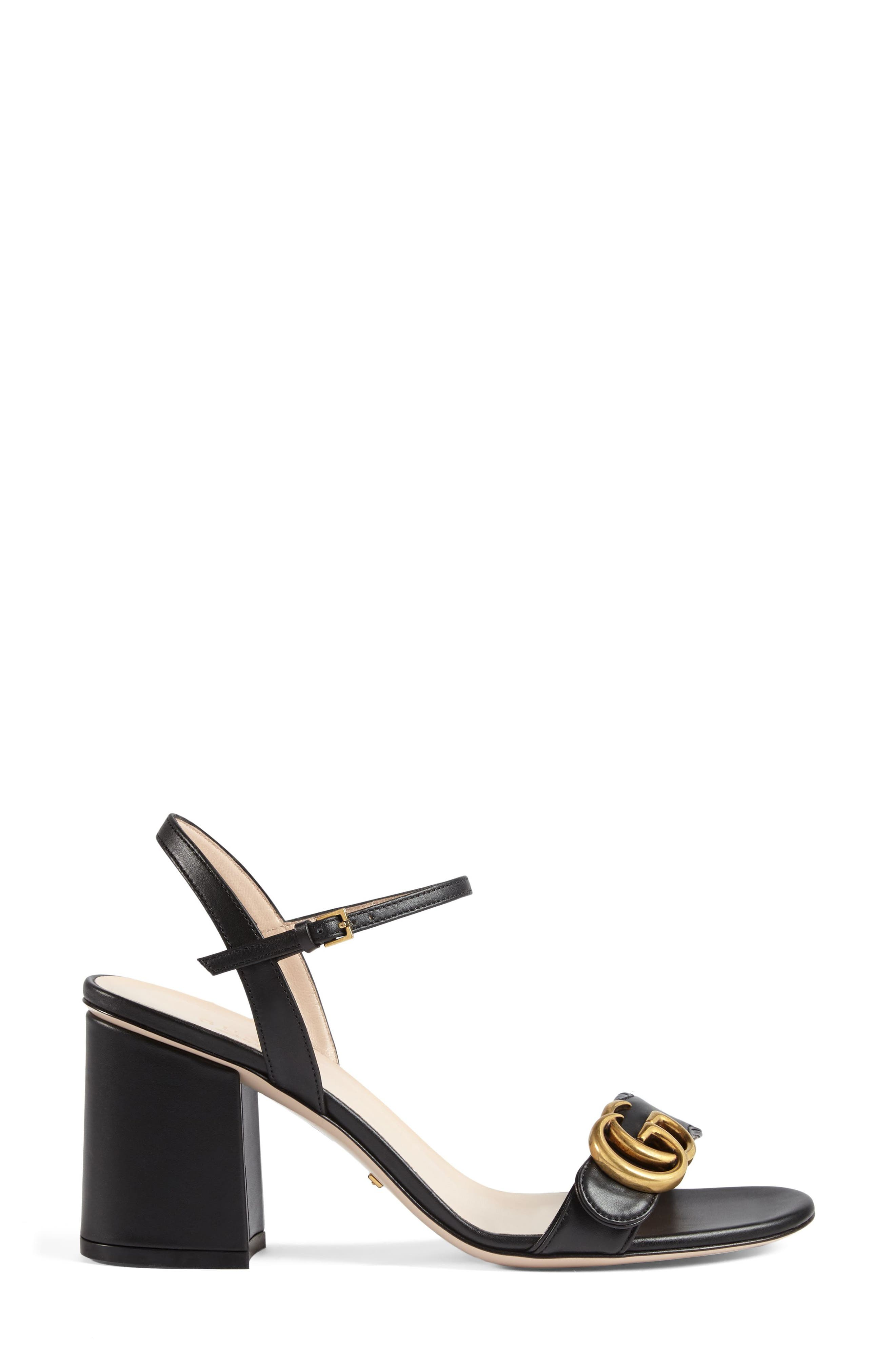 GUCCI, GG Marmont Sandal, Alternate thumbnail 3, color, BLACK LEATHER