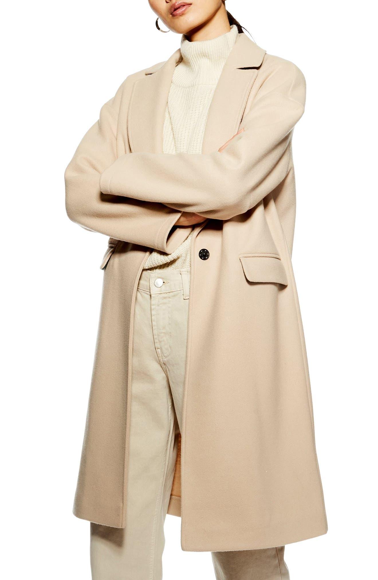 TOPSHOP Lily Knit Back Midi Coat, Main, color, 250