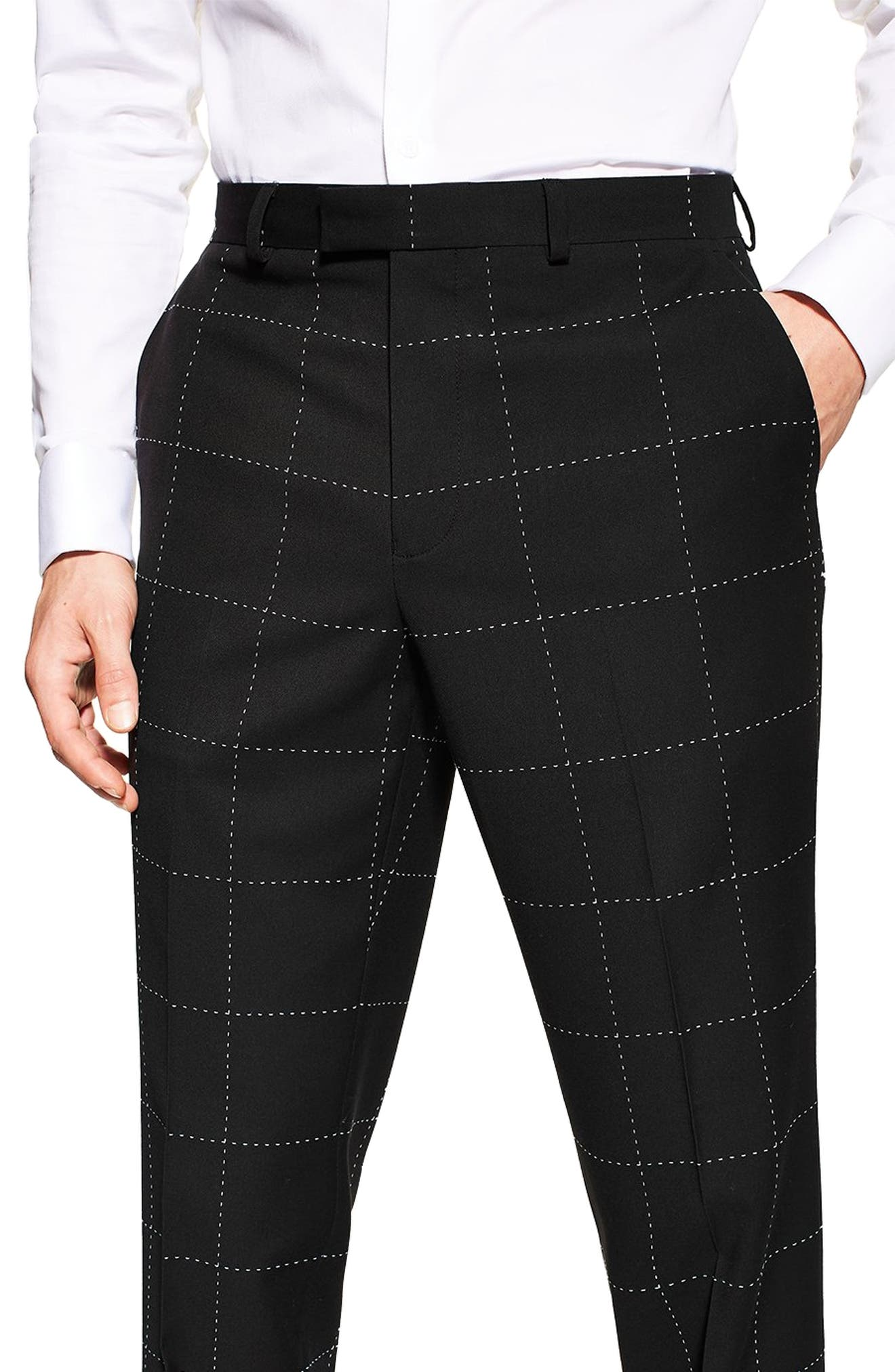 TOPMAN, Slim Fit Topstitched Suit Trousers, Alternate thumbnail 3, color, BLACK MULTI