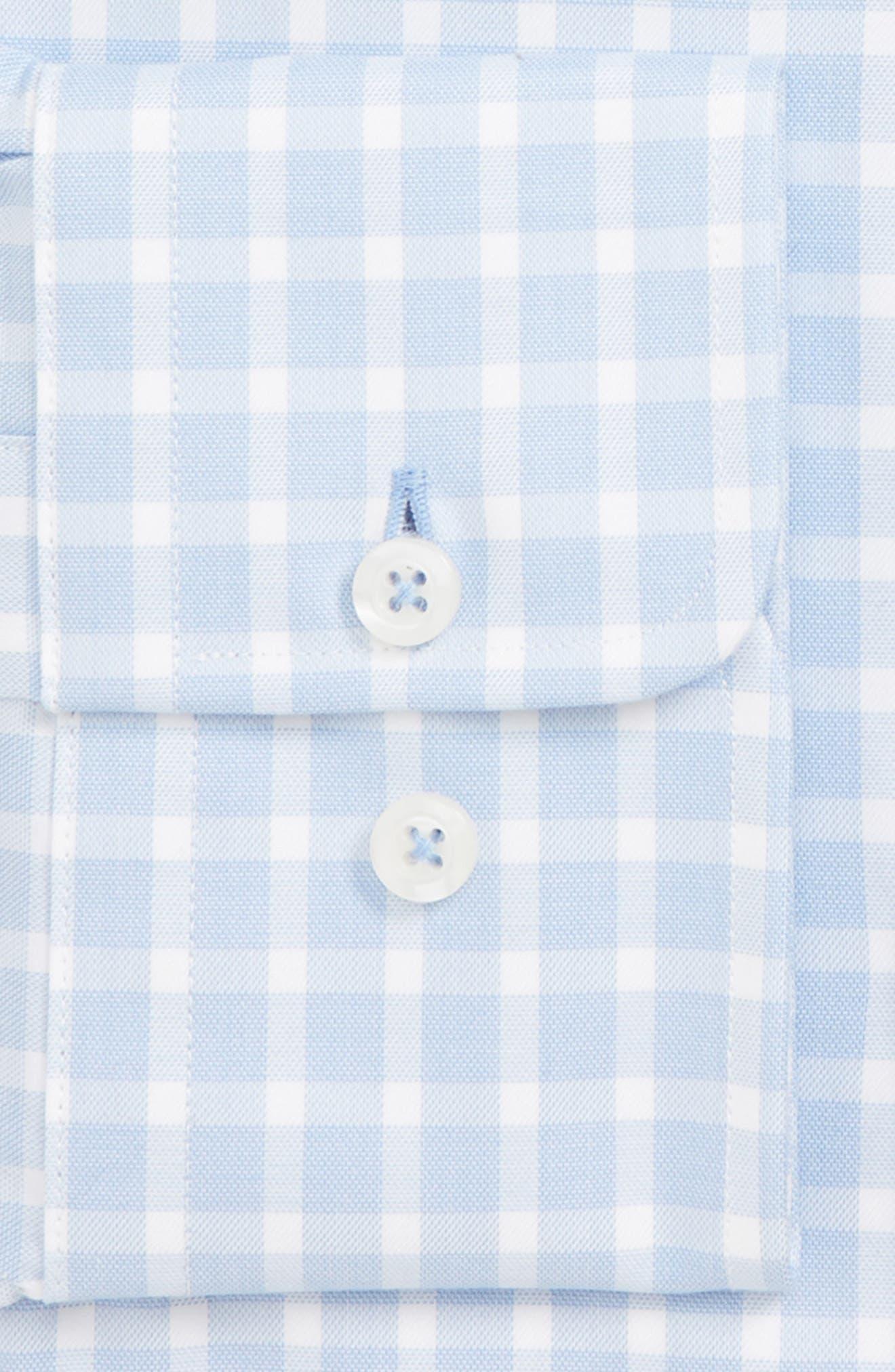 DAVID DONAHUE, Trim Fit Check Dress Shirt, Alternate thumbnail 6, color, BLUE