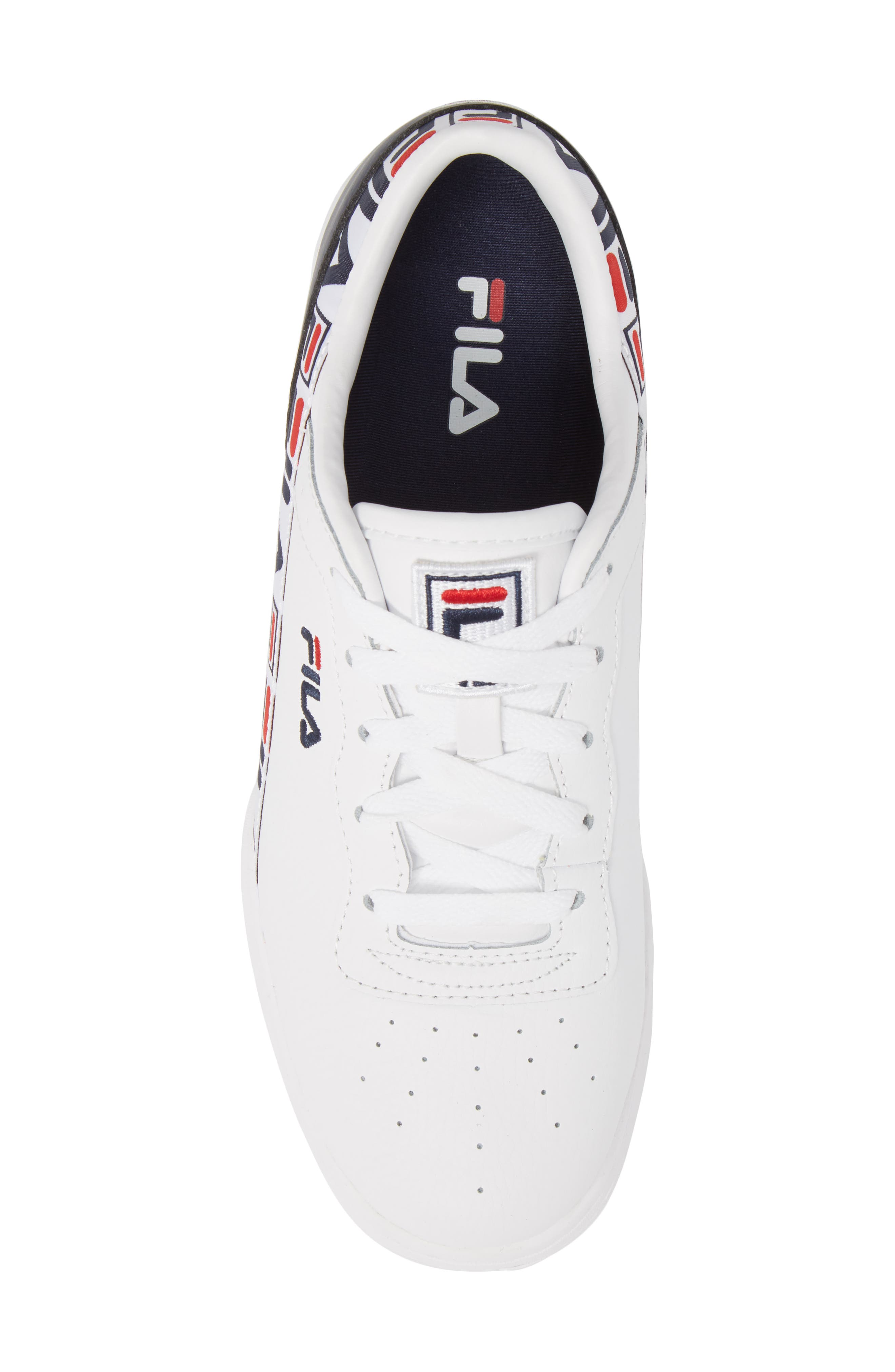 FILA, Original Fitness Logo Tape Sneaker, Alternate thumbnail 5, color, WHITE/ FILA NAVY