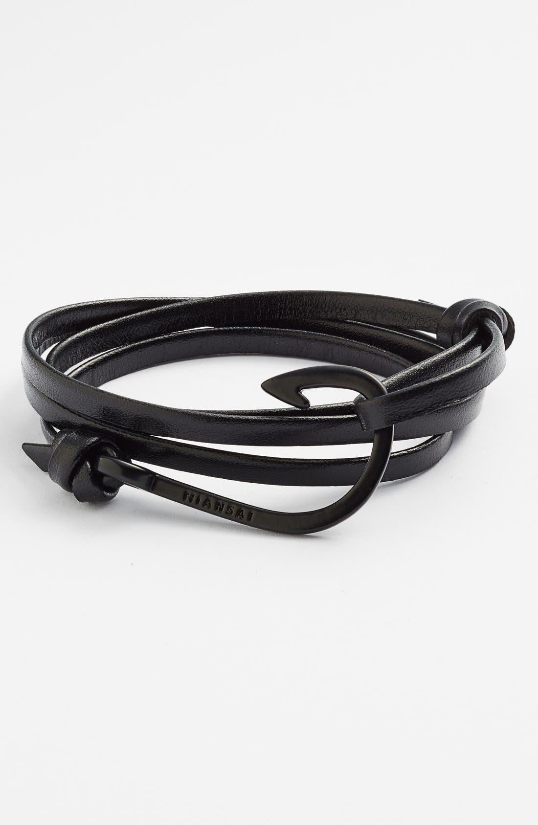 MIANSAI, 'Noir' Hook Leather Bracelet, Main thumbnail 1, color, 001