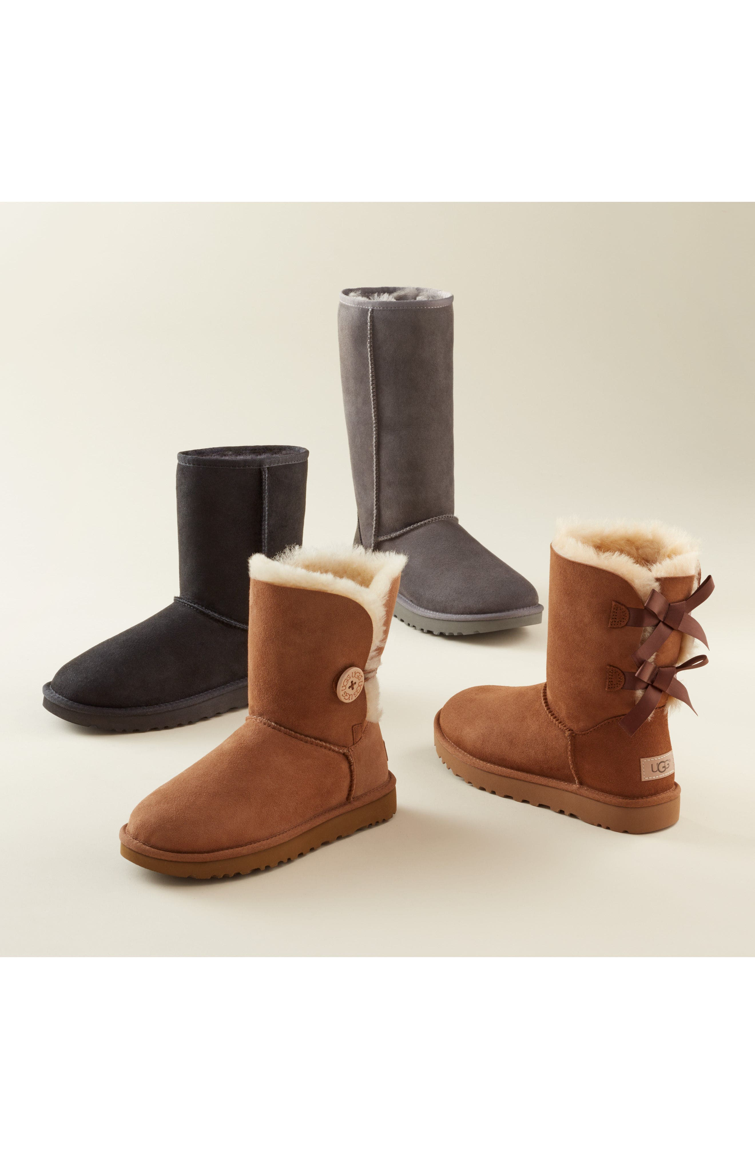 UGG<SUP>®</SUP>, Bailey Bow II Genuine Shearling Boot, Alternate thumbnail 7, color, BLACK SUEDE