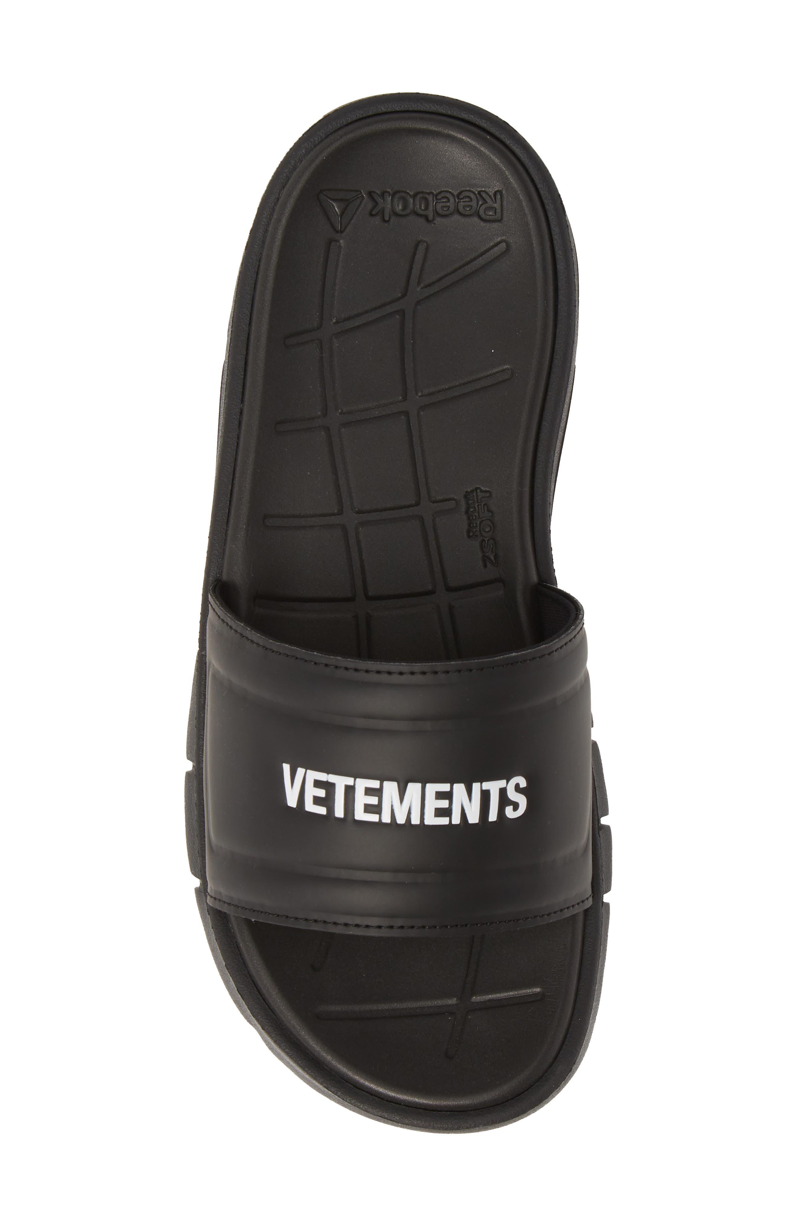 VETEMENTS, x Reebok Logo Slide Sandal, Alternate thumbnail 5, color, BLACK/ WHITE